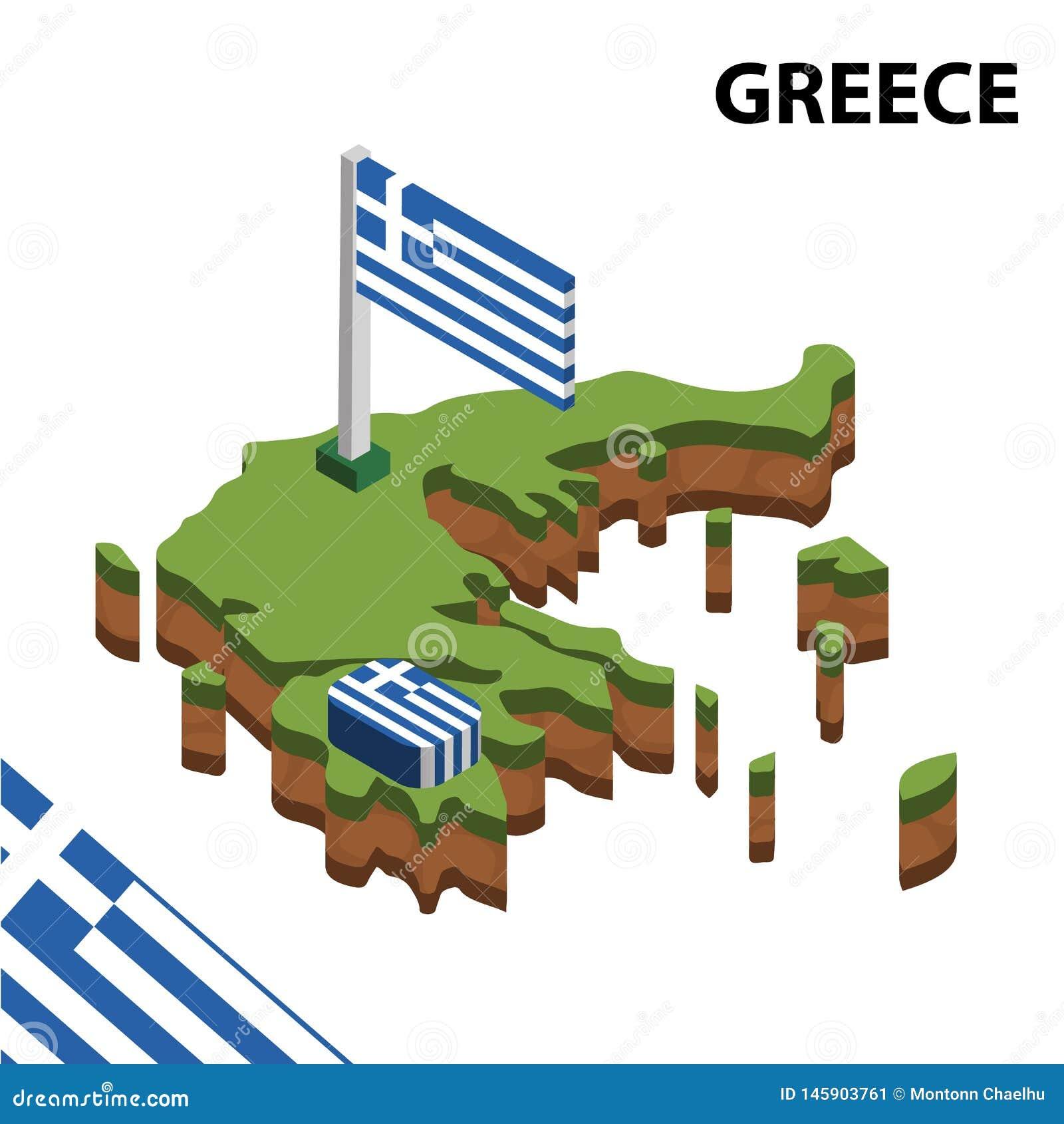 Mapa de la información y bandera isométricos gráficos de GRECIA ejemplo isom?trico del vector 3d
