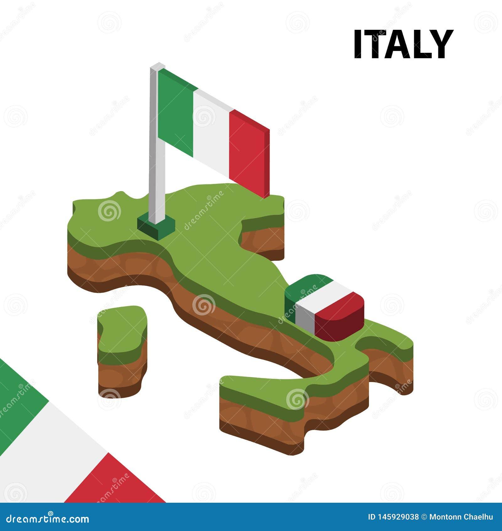 Mapa de la informaci?n y bandera isom?tricos gr?ficos de ITALIA ejemplo isom?trico del vector 3d
