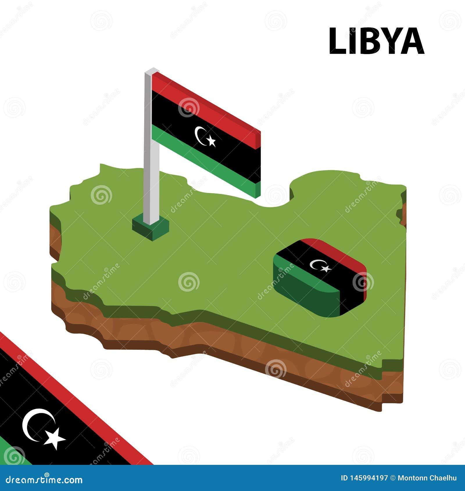 Mapa de la información y bandera isométricos gráficos de LIBIA ejemplo isom?trico del vector 3d