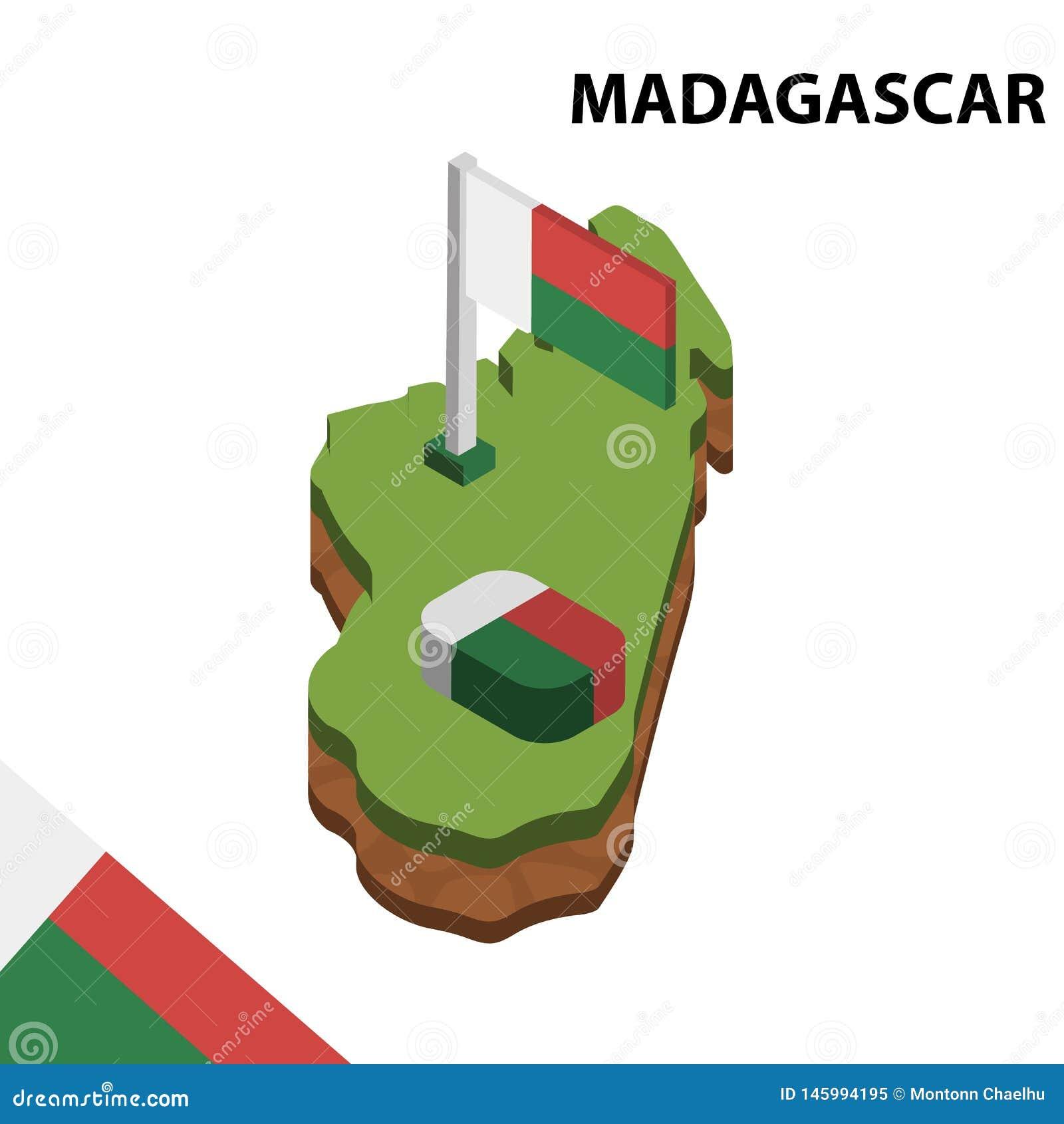 Mapa de la información y bandera isométricos gráficos de MADAGASCAR ejemplo isom?trico del vector 3d