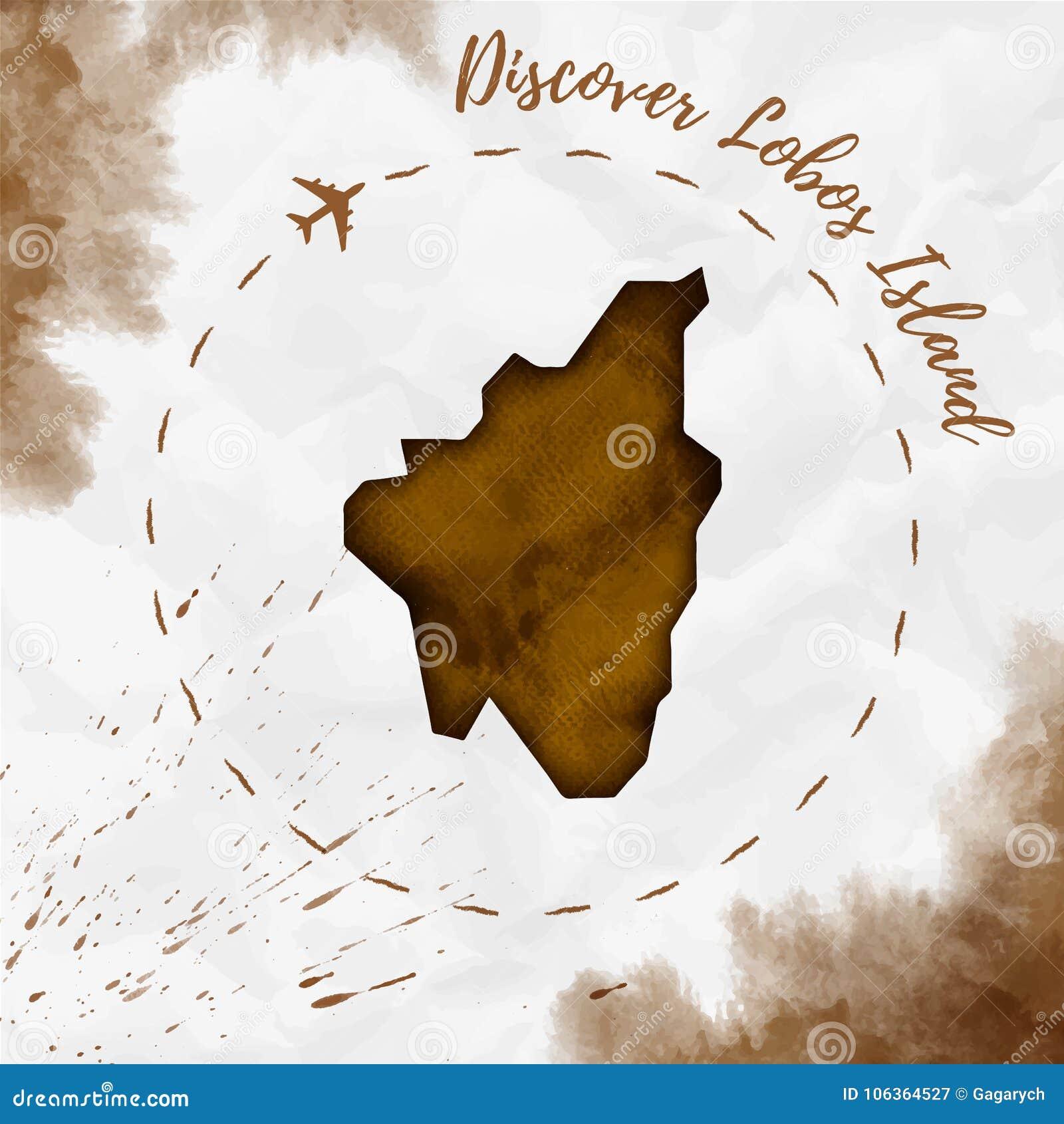 Isla De Lobos Mapa.Mapa De La Isla De La Acuarela De La Isla De Lobos En Sepia