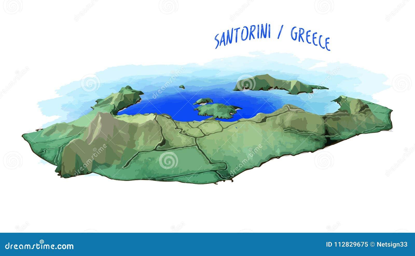 Mapa De La Isla 3d De Santorini Ilustracion Del Vector