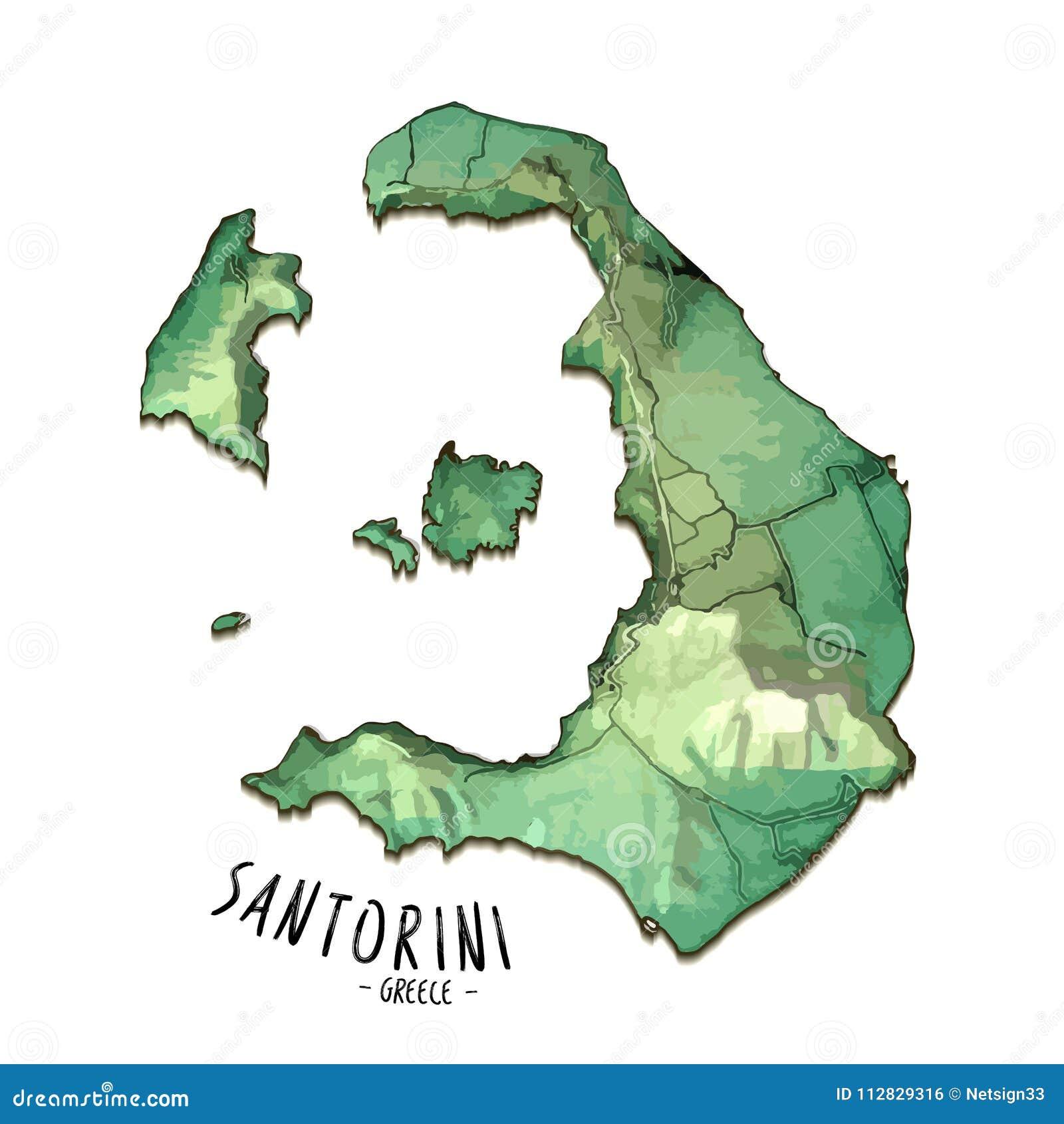 Mapa De La Isla 3d De Santorini Grecia Ilustracion Del