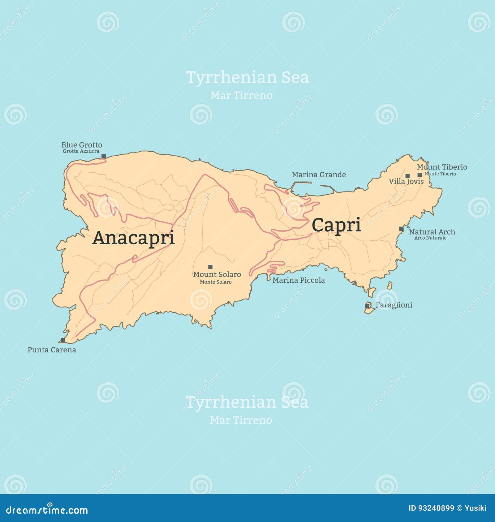 capri italia mapa Mapa De La Isla De Capri, Italia, Campania Stock de ilustración  capri italia mapa