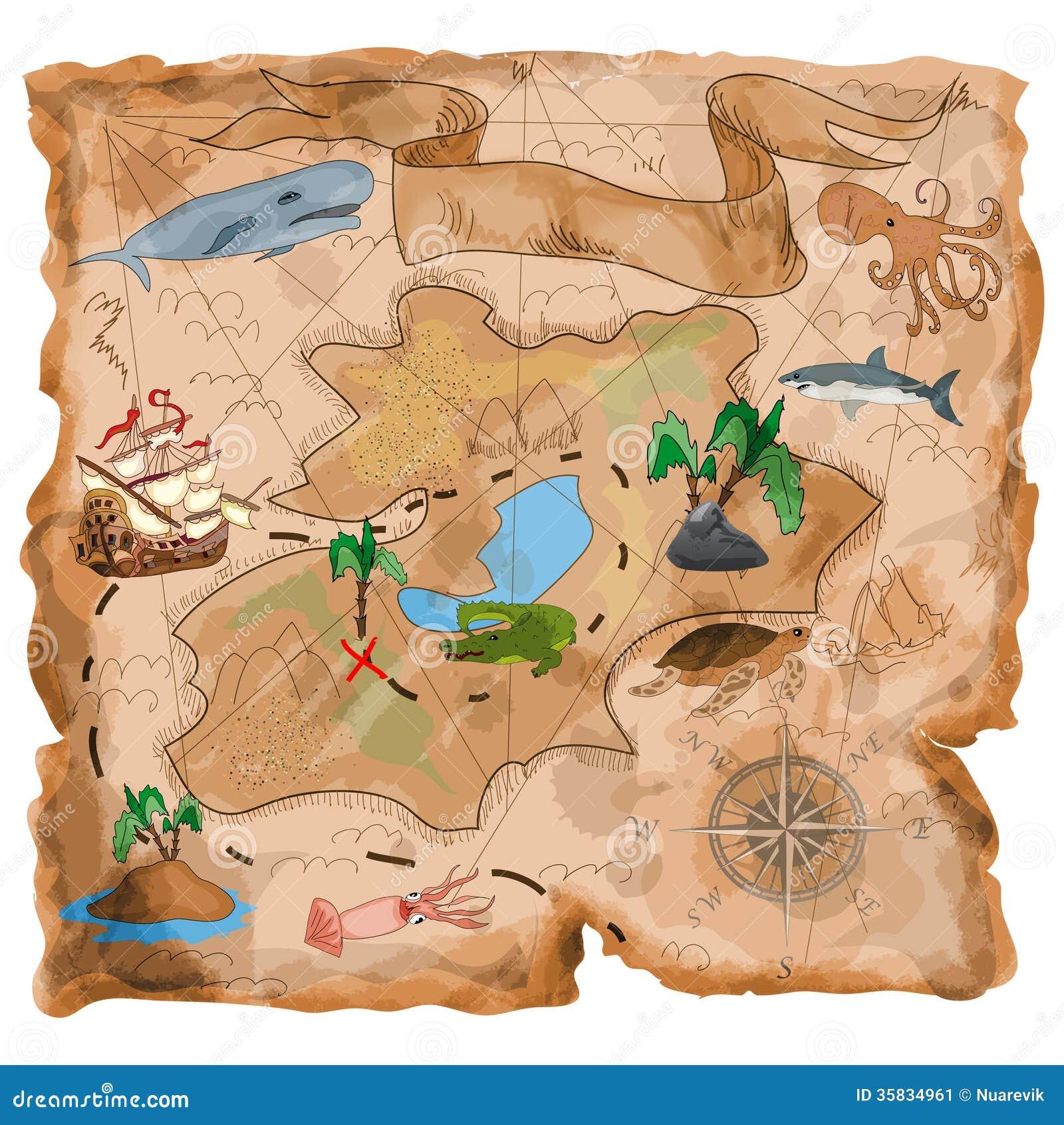 Mapa Isla Del Tesoro.Mapa De La Isla Del Tesoro Stock De Ilustracion Ilustracion