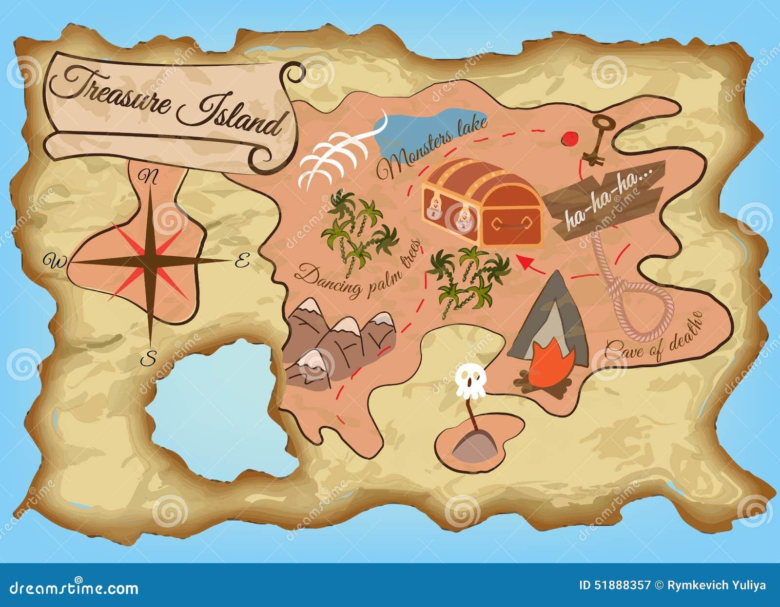 Mapa Isla Del Tesoro.Mapa De La Isla Del Tesoro Ilustracion Del Vector