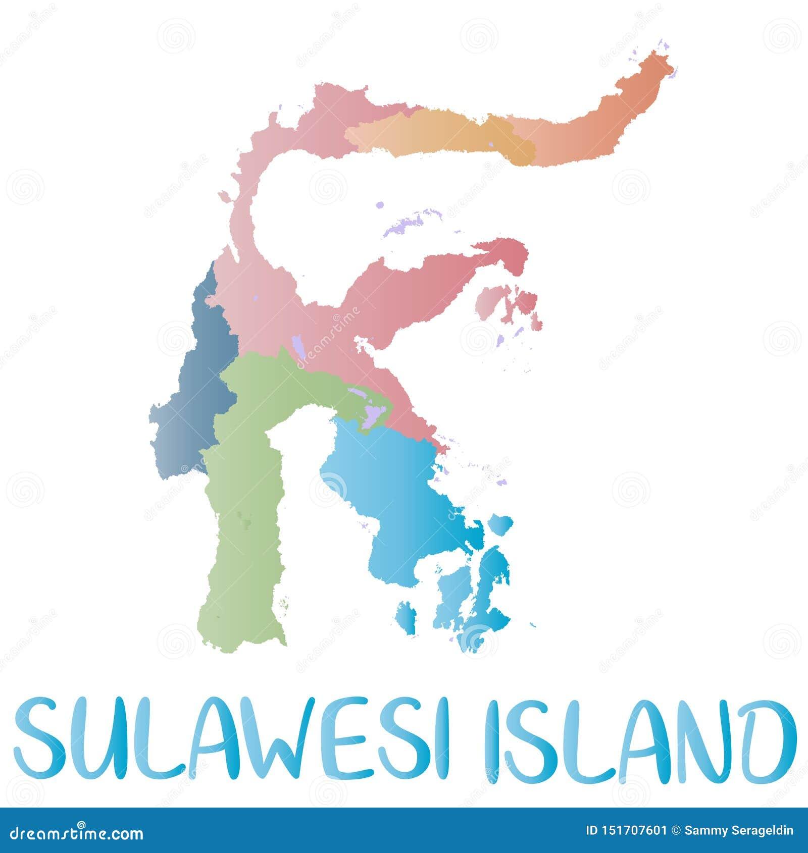 Mapa de la isla de Sulawesi Icono de la silueta de las islas Mapa aislado de Sulawesi