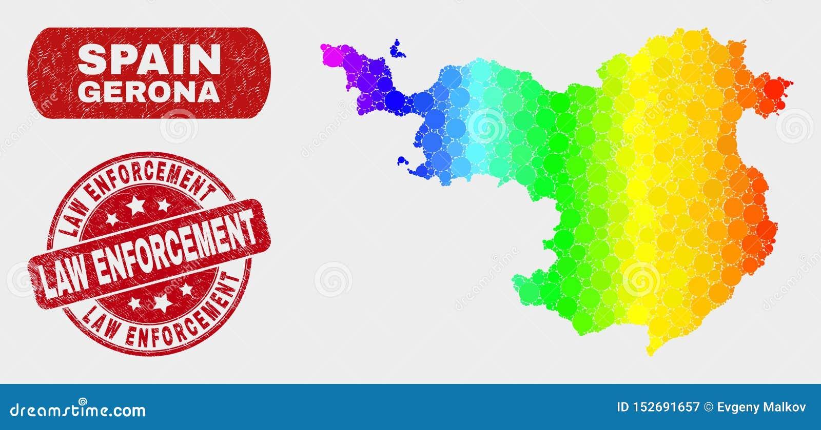 Mapa de la provincia de Gerona del mosaico del espectro y sello de la aplicación de ley del Grunge