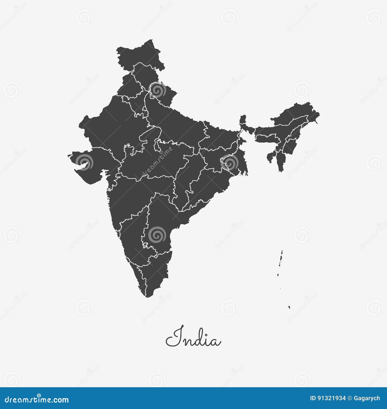 Mapa de la región de la India: esquema gris en blanco