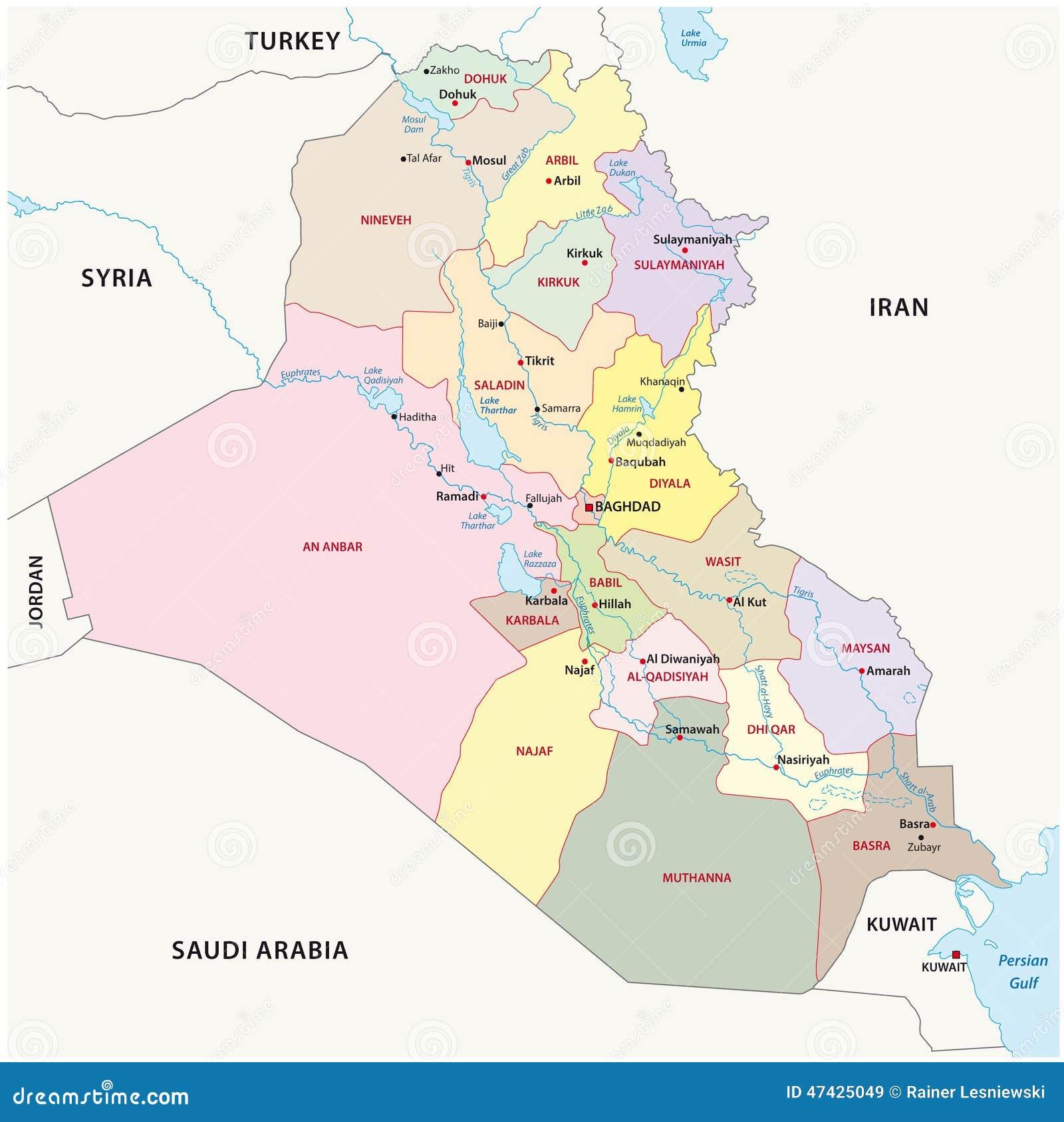 Mapa De Las Divisiones Administrativas De Iraq de – Mapa De Iraq