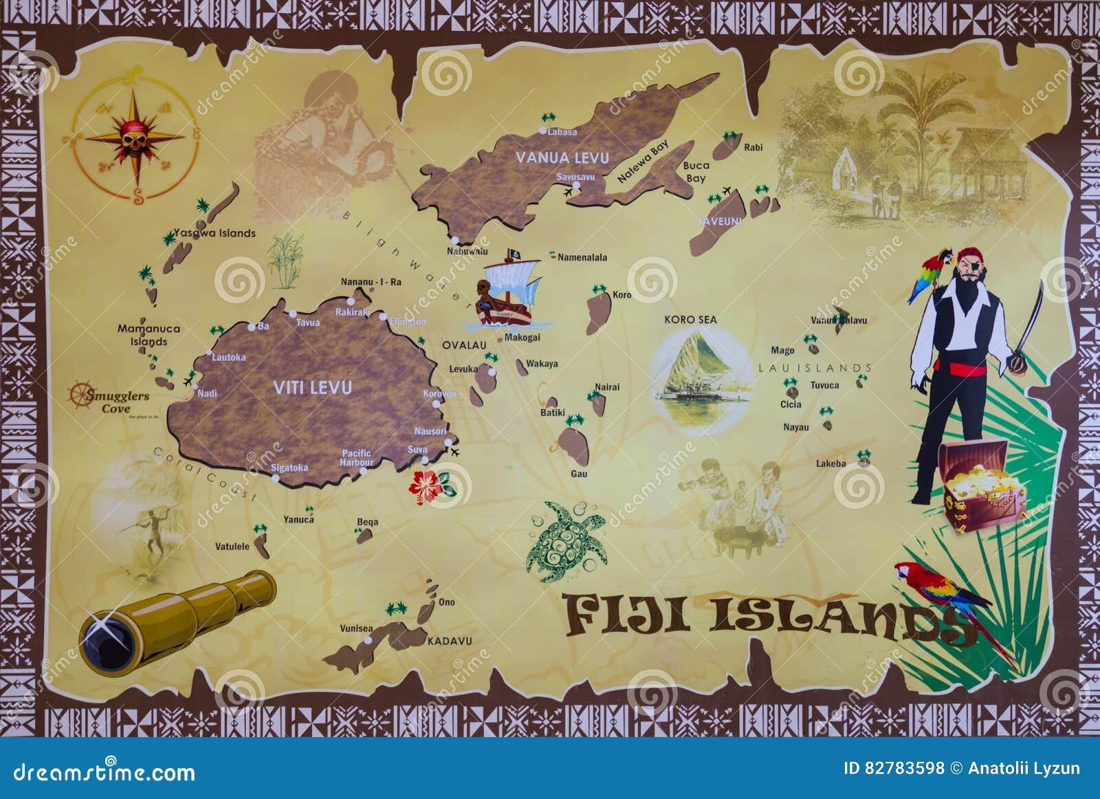 Mapa De Las Islas Del Fijian Foto De Archivo Editorial