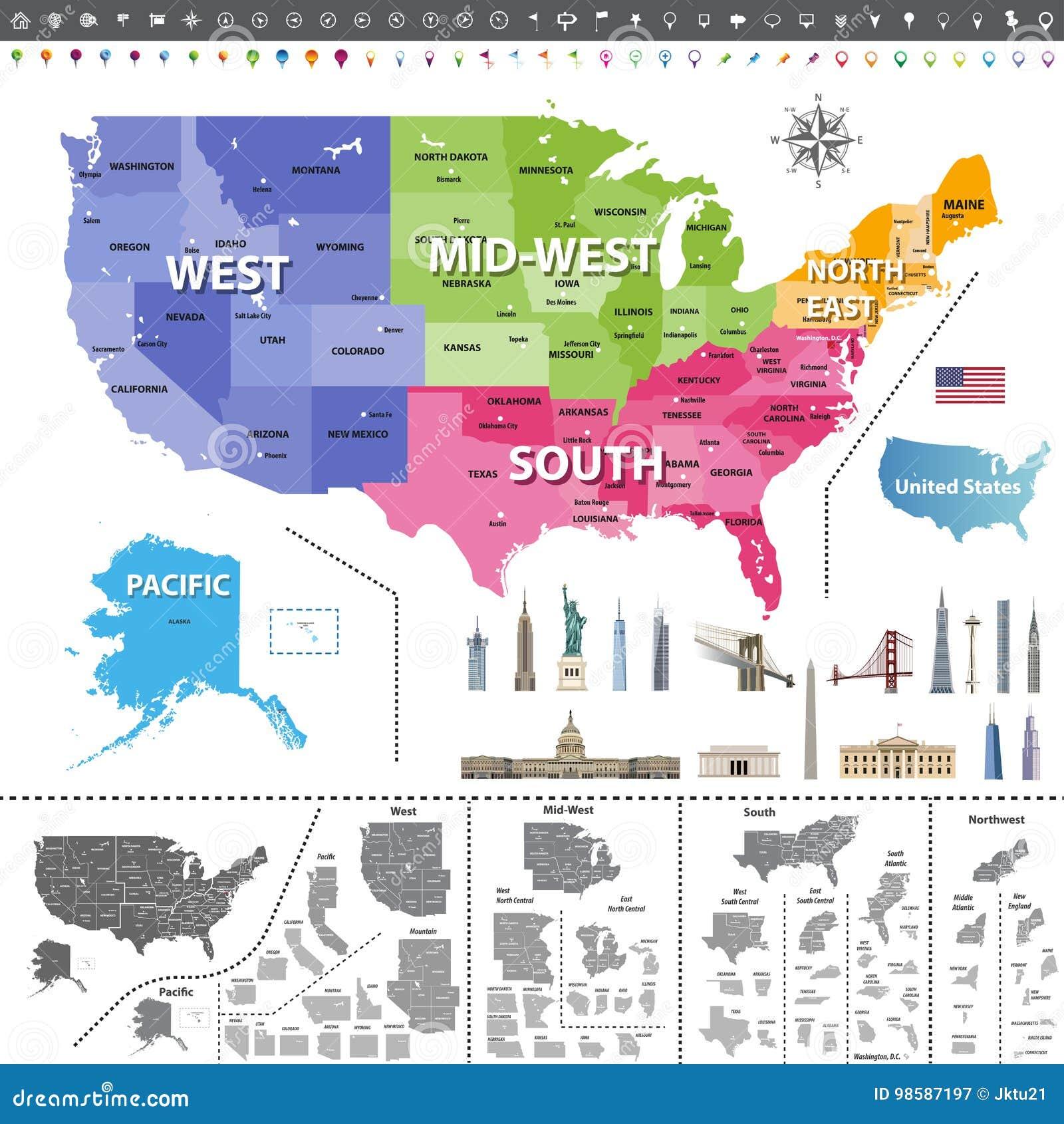 Mapa De Los Estados Unidos De América Coloreado Por Regiones ...