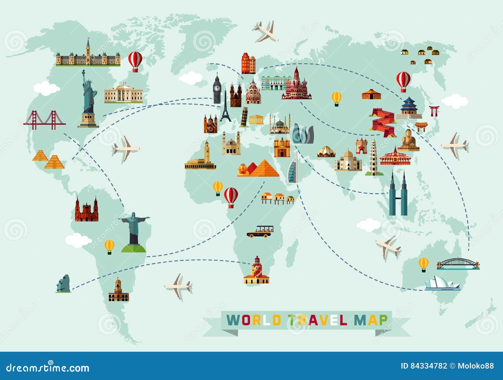 Mapa de los iconos del mundo y del viaje