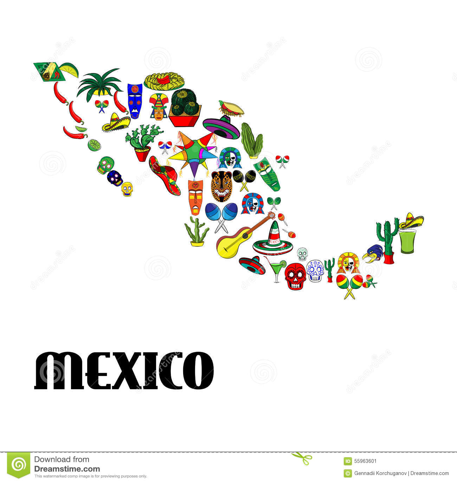 Mapa De México Del Cartel Ilustración Del Vector Ilustración De - Mapa de mexico