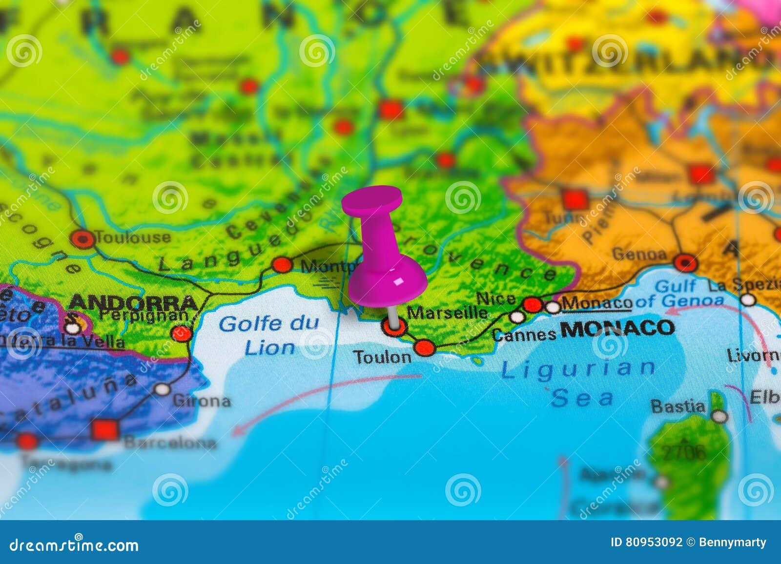 Mapa De Marsella Francia Foto De Archivo Imagen De Fondo 80953092