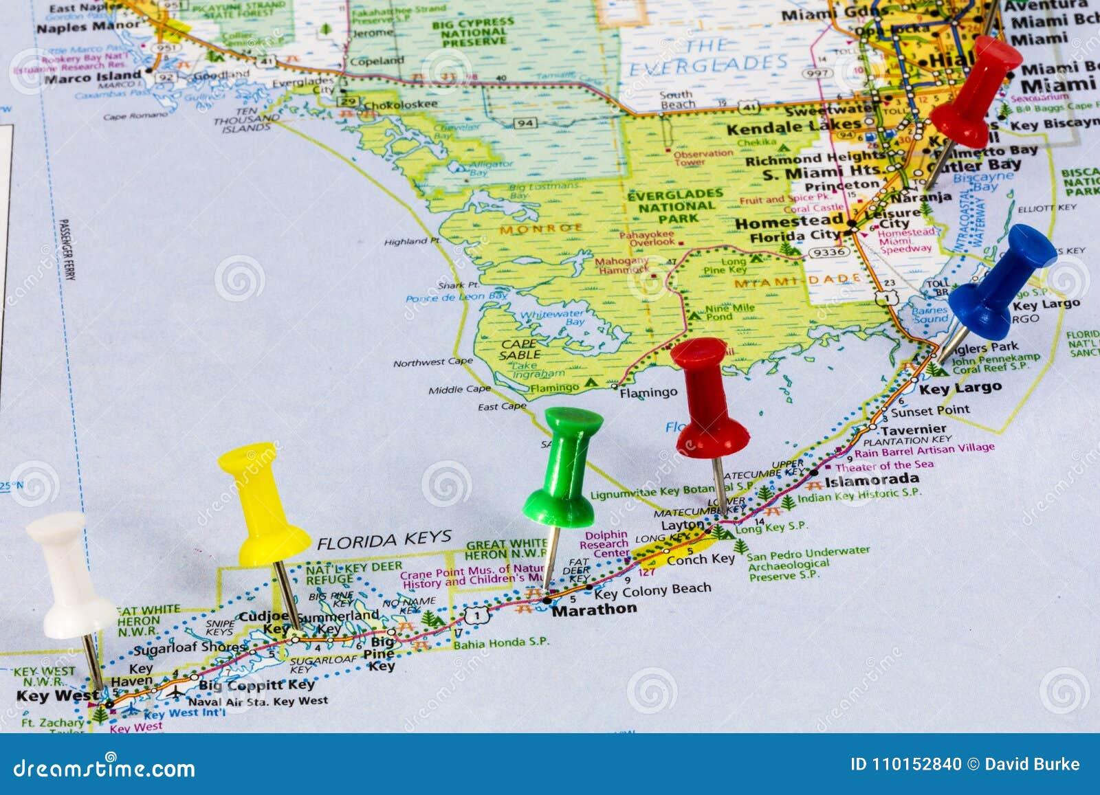 mapa de miami de las llaves de la florida imagen editorial