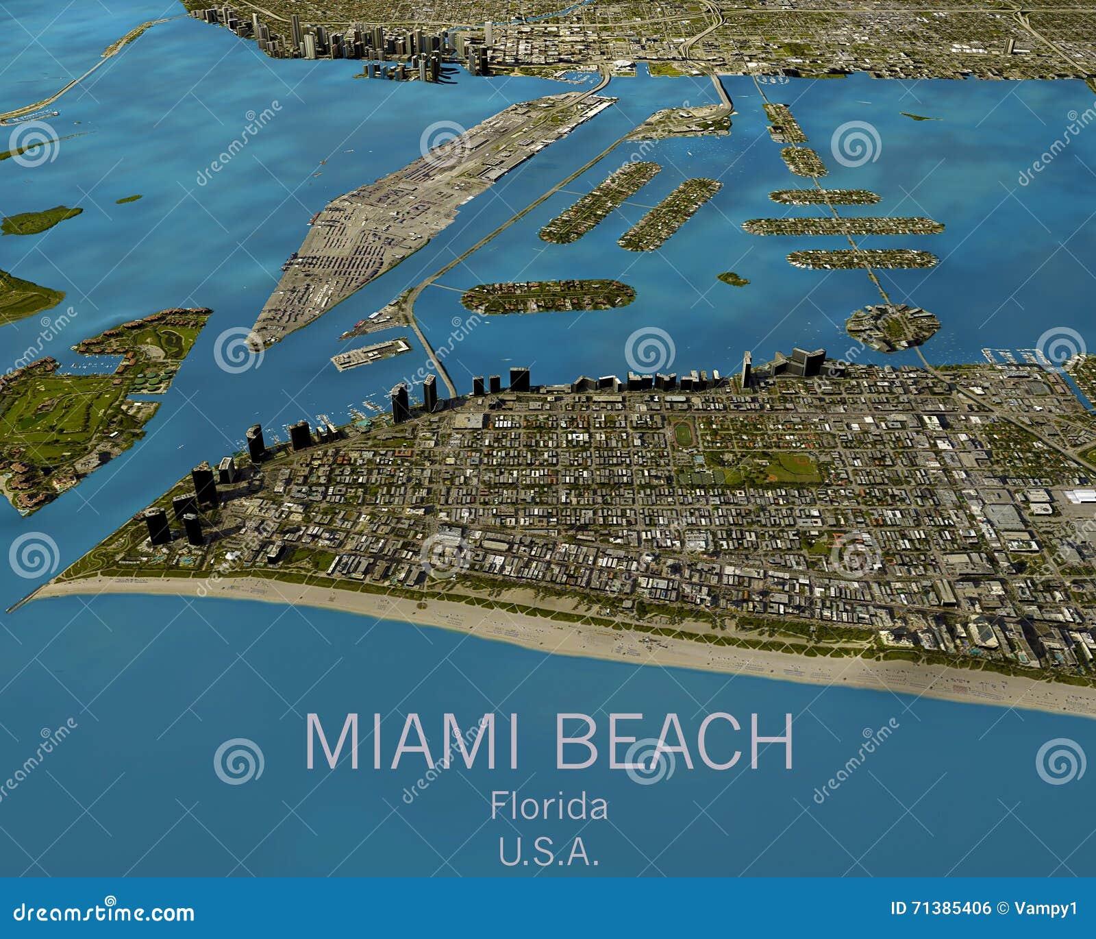 mapa de miami, visión por satélite, estados unidos foto de