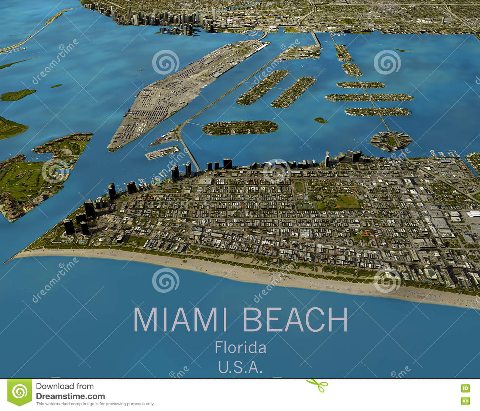 mapa de miami, vista satélite, estados unidos foto de stock