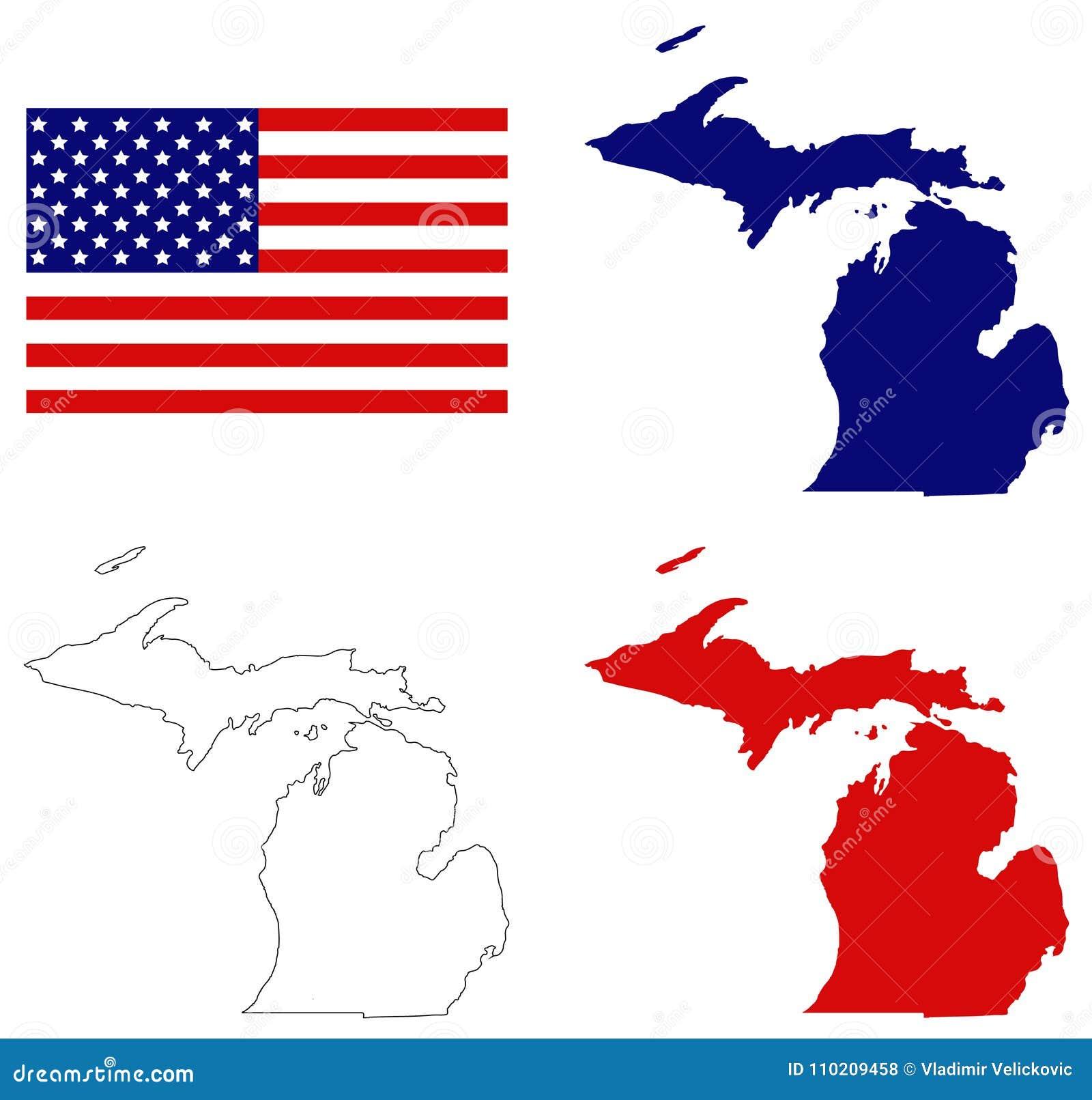 Mapa De Michigan Con La Bandera De Los E.E.U.U. - Estado En Los ...