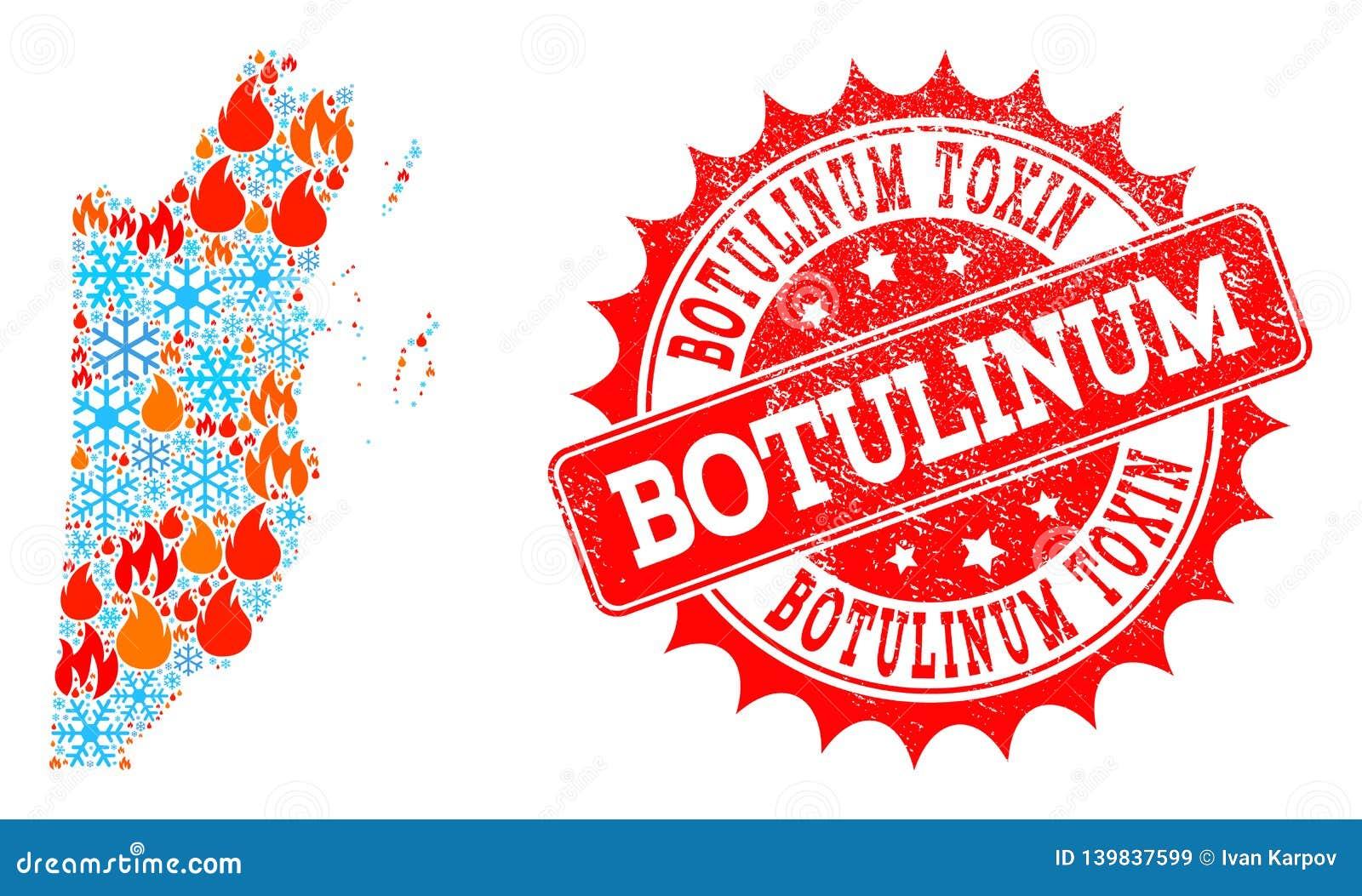 Mapa de mosaico de Belice del fuego y copos de nieve y sello texturizado toxina Botulinum