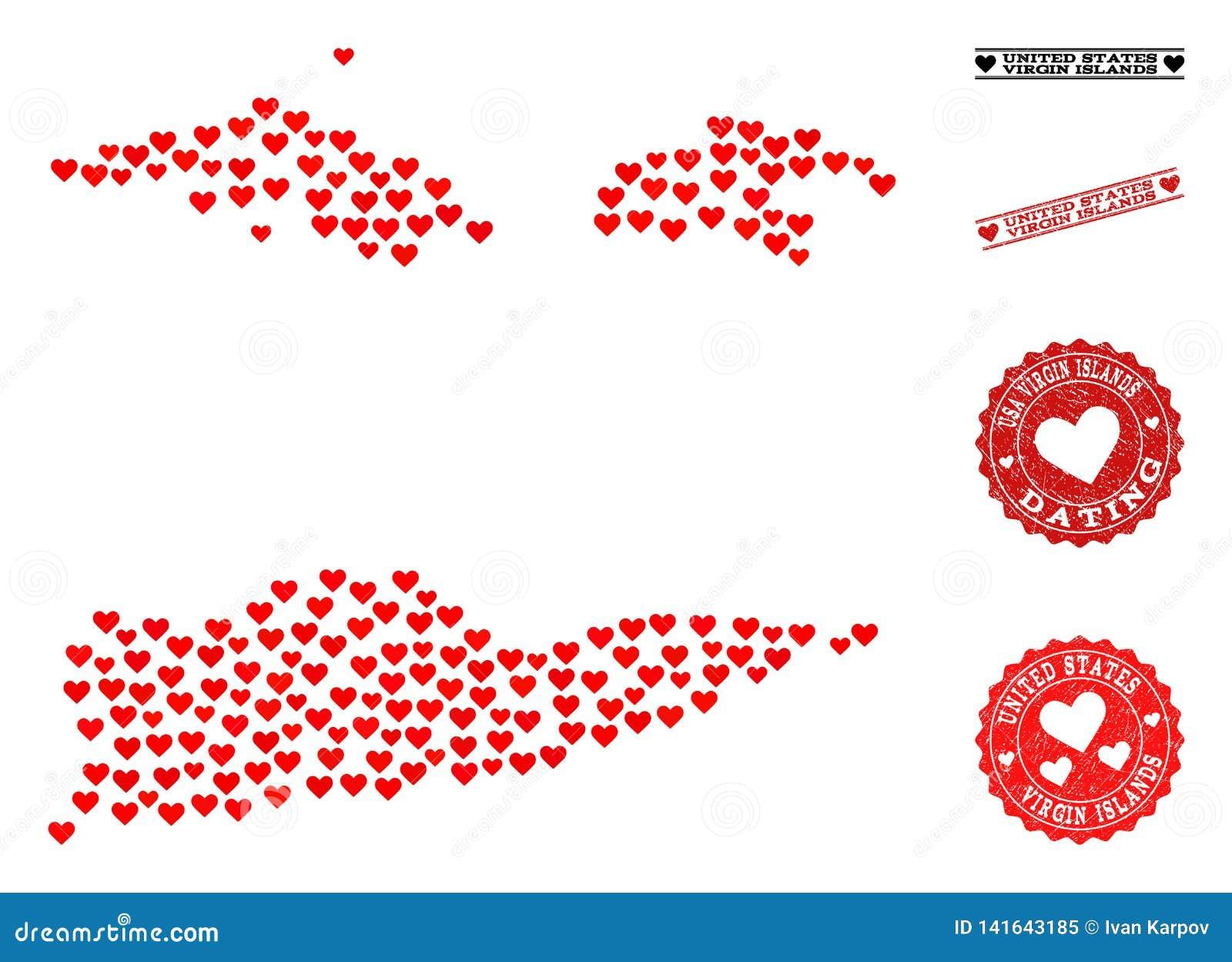 Mapa de mosaico del corazón de las Islas Vírgenes y de los sellos americanos del Grunge para las tarjetas del día de San Valentín