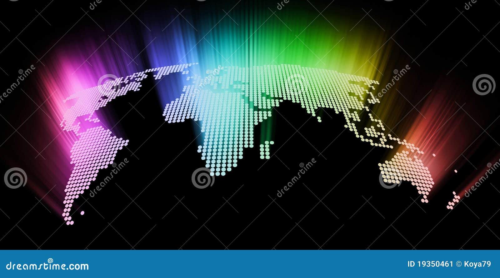 Mapa de mundo alta tecnologia de incandescência abstrato