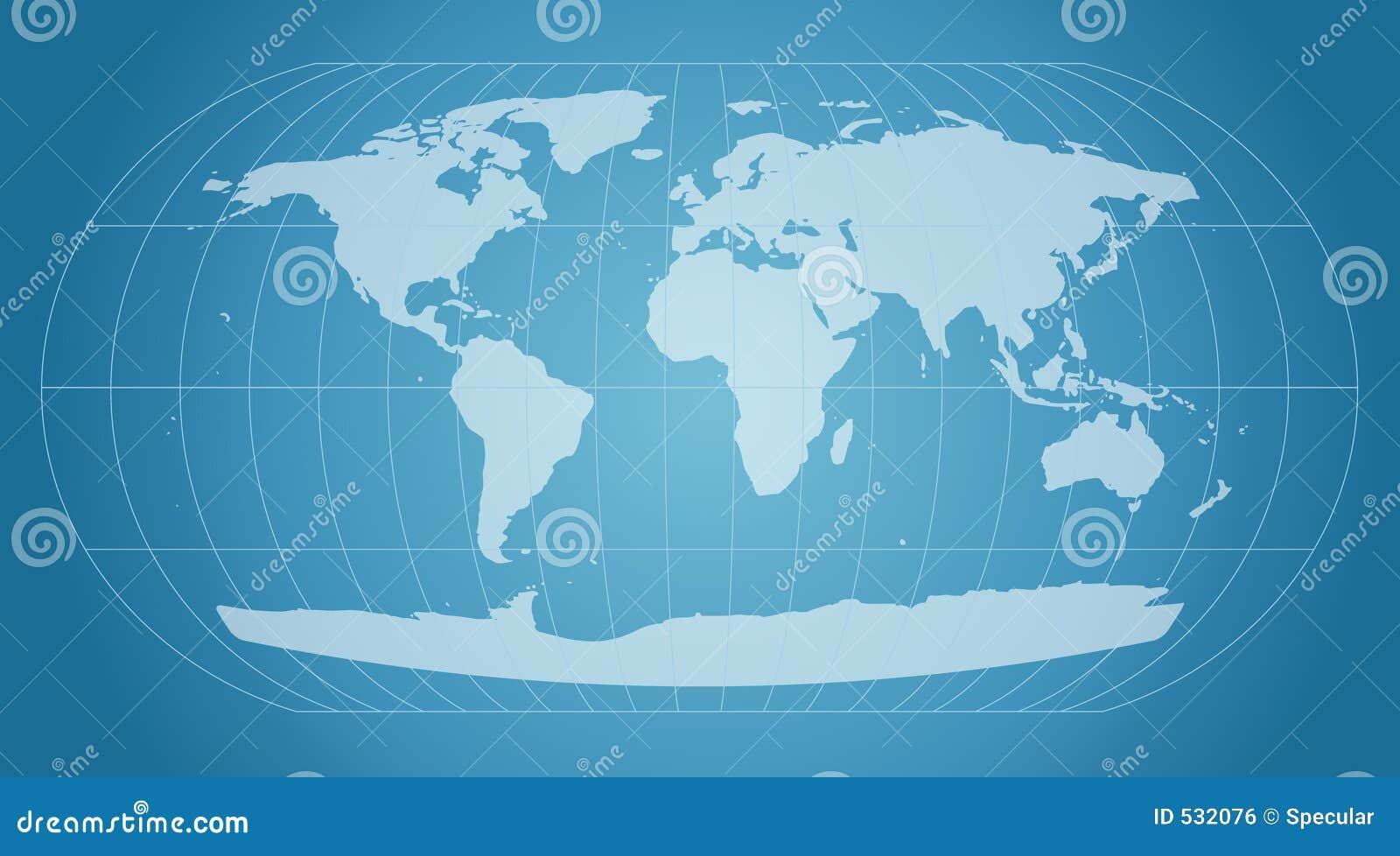 Mapa de mundo azul