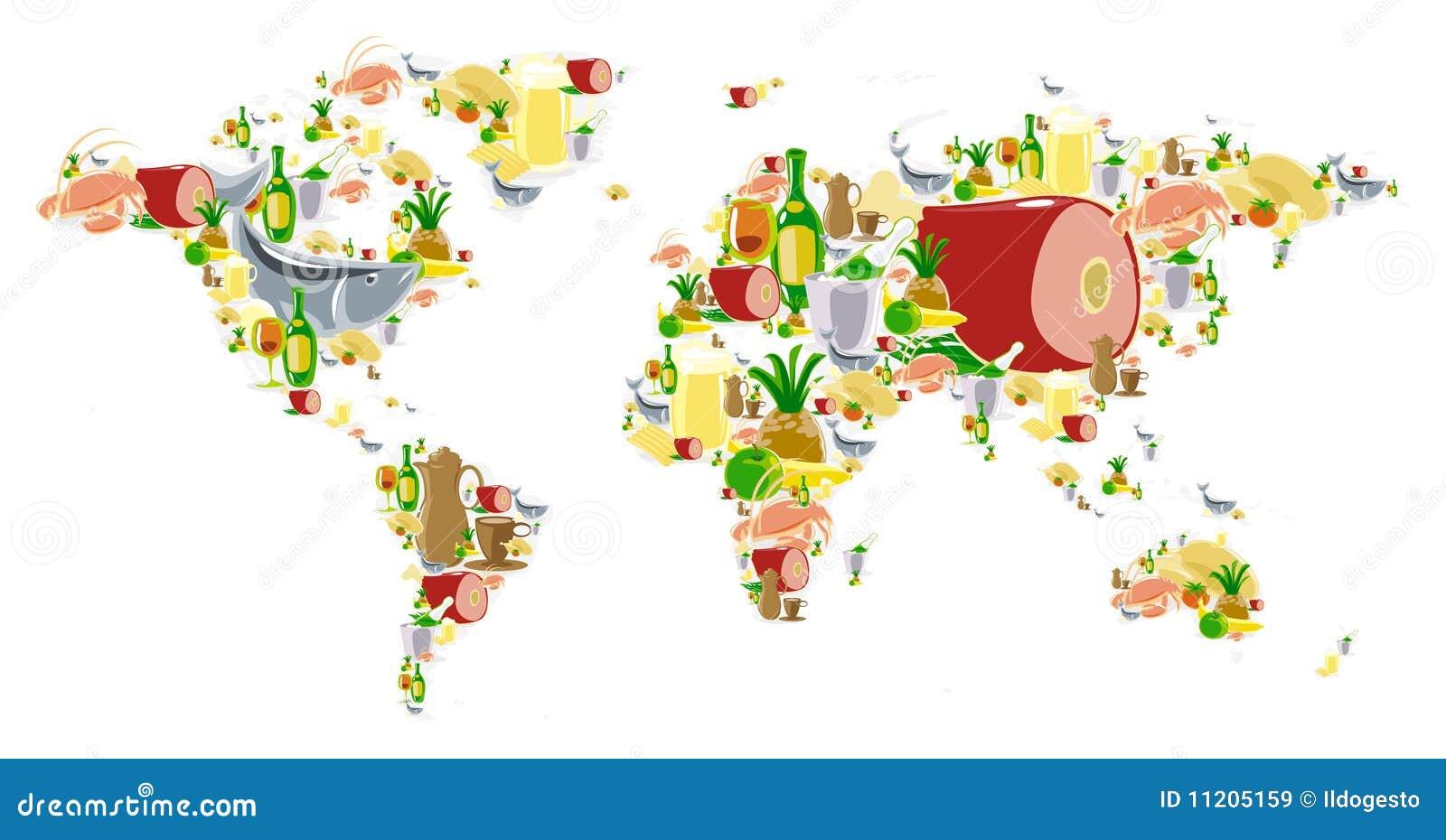 Mapa de mundo com alimento e bebidas