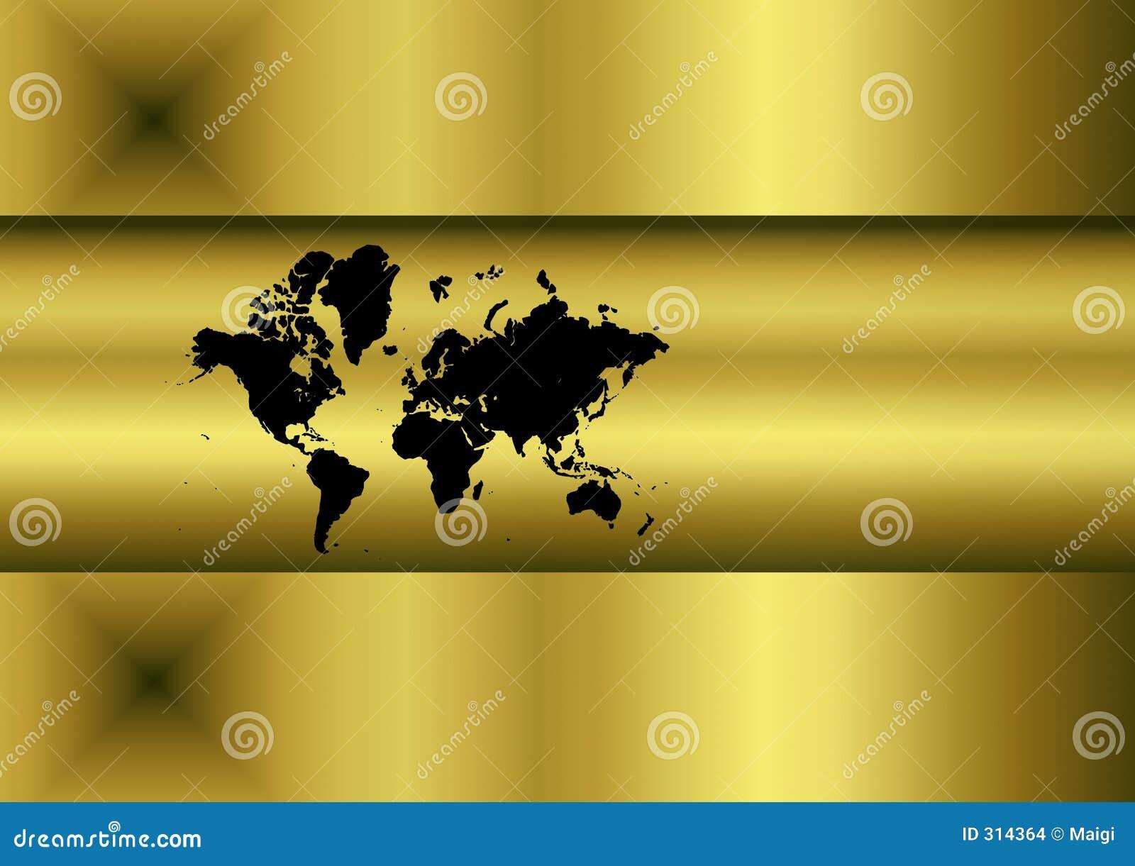 Mapa de mundo dourado