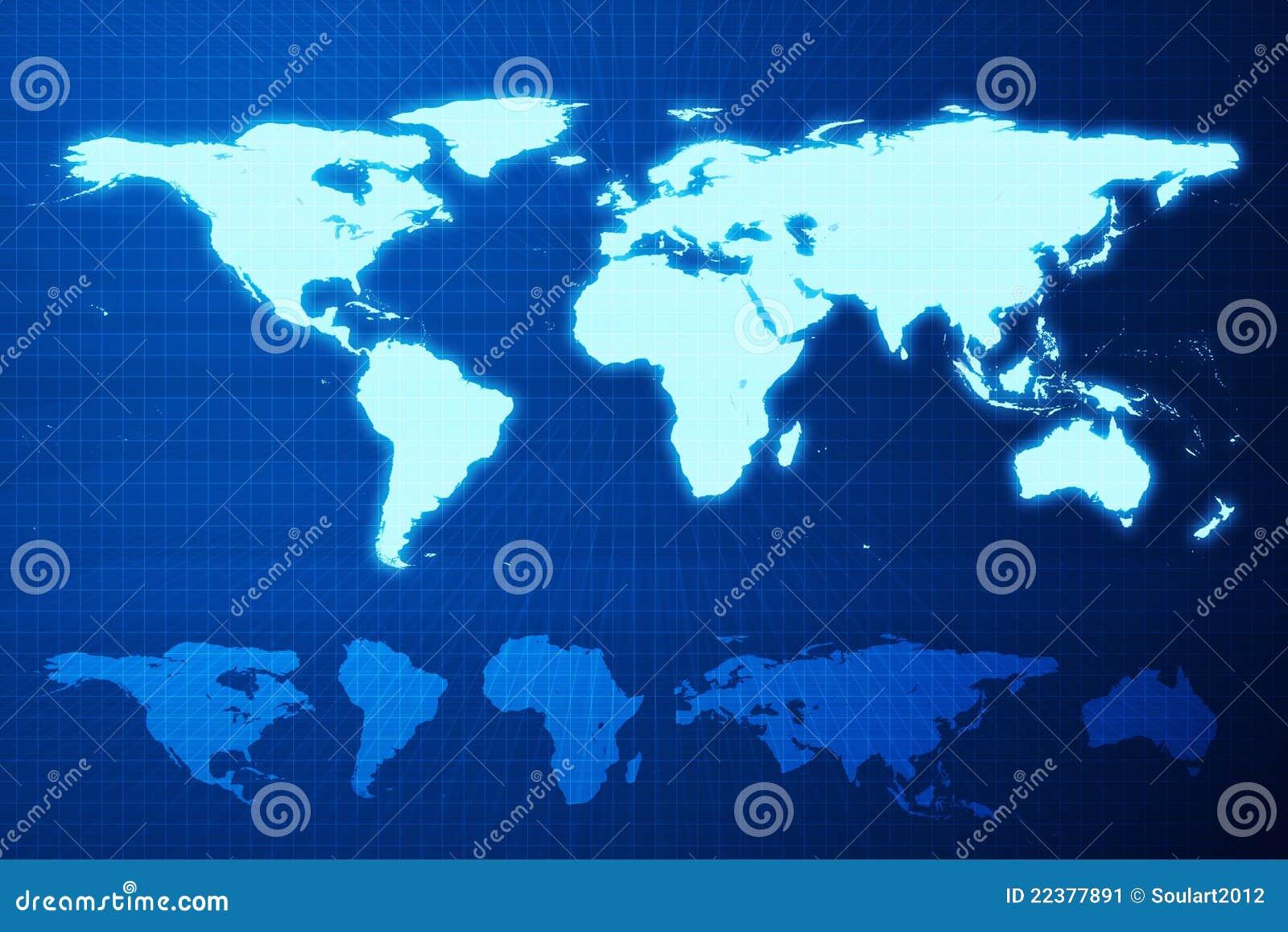 Mapa de mundo e continente