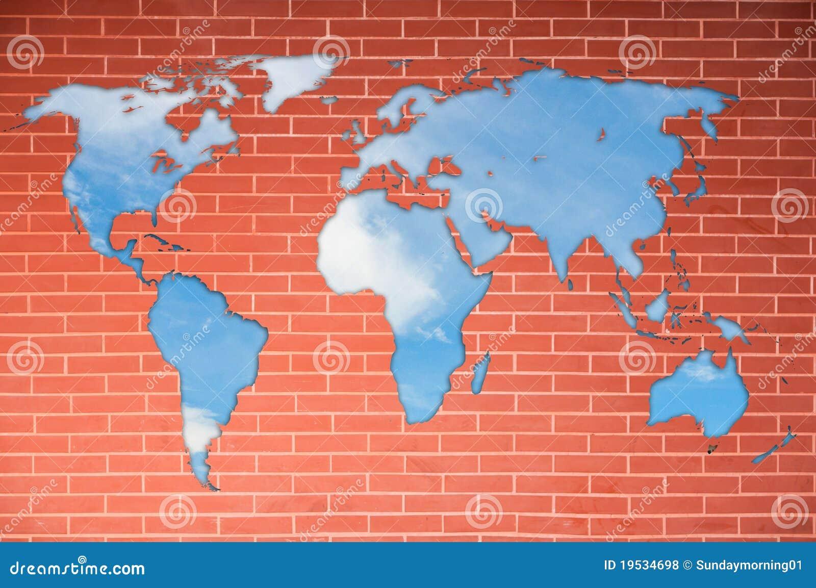 Mapa de mundo na parede de tijolo