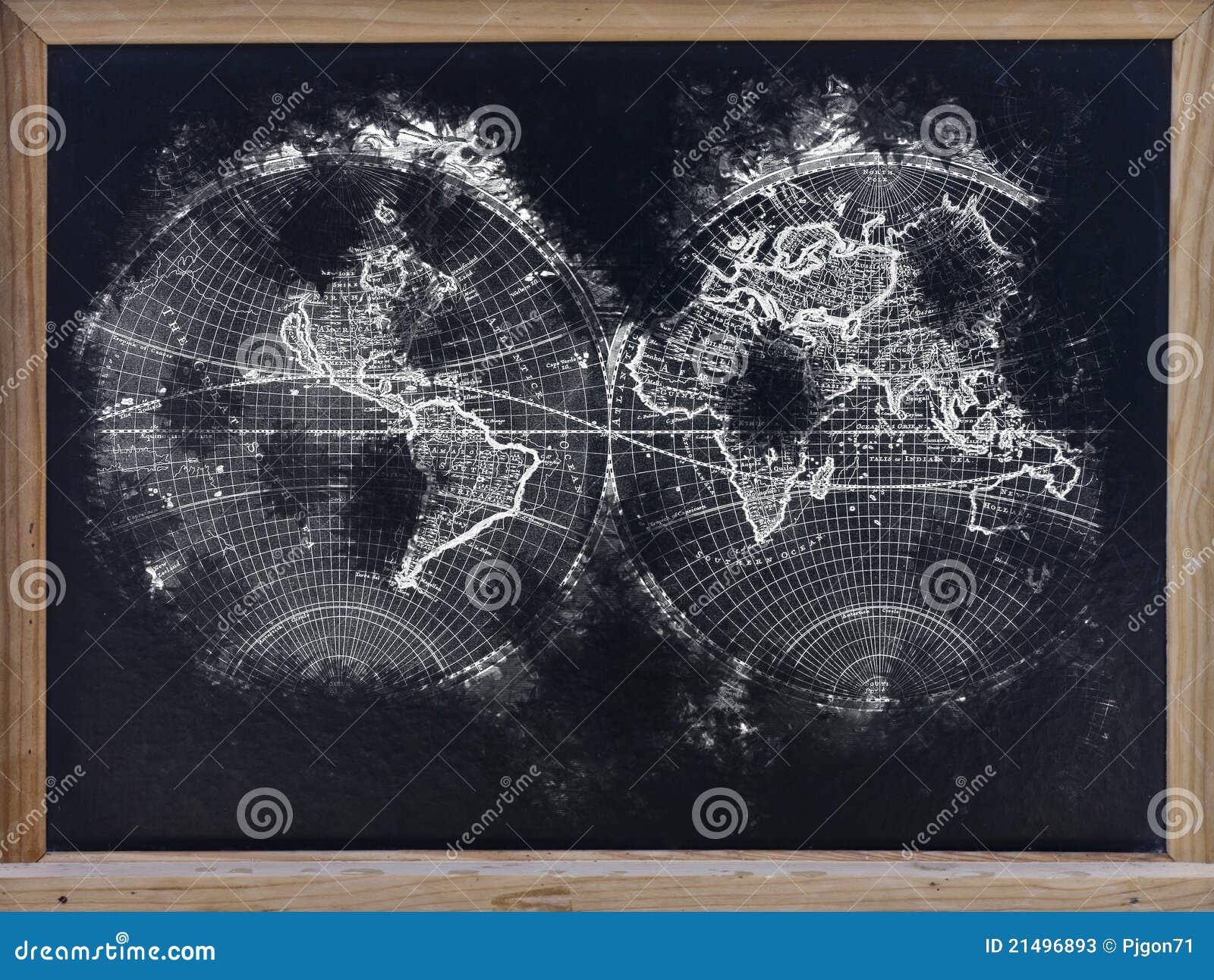 Mapa de mundo no quadro-negro
