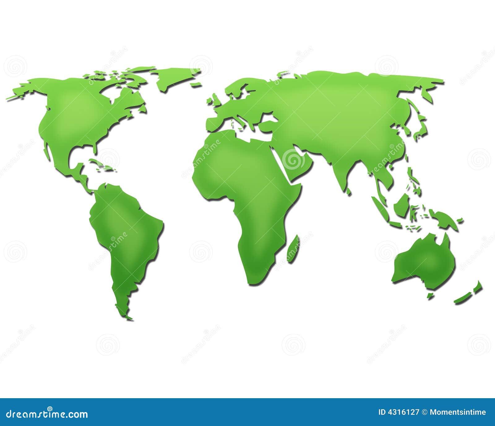 Mapa de mundo no verde