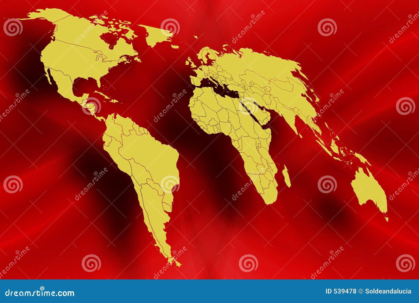 Mapa de mundo no vermelho