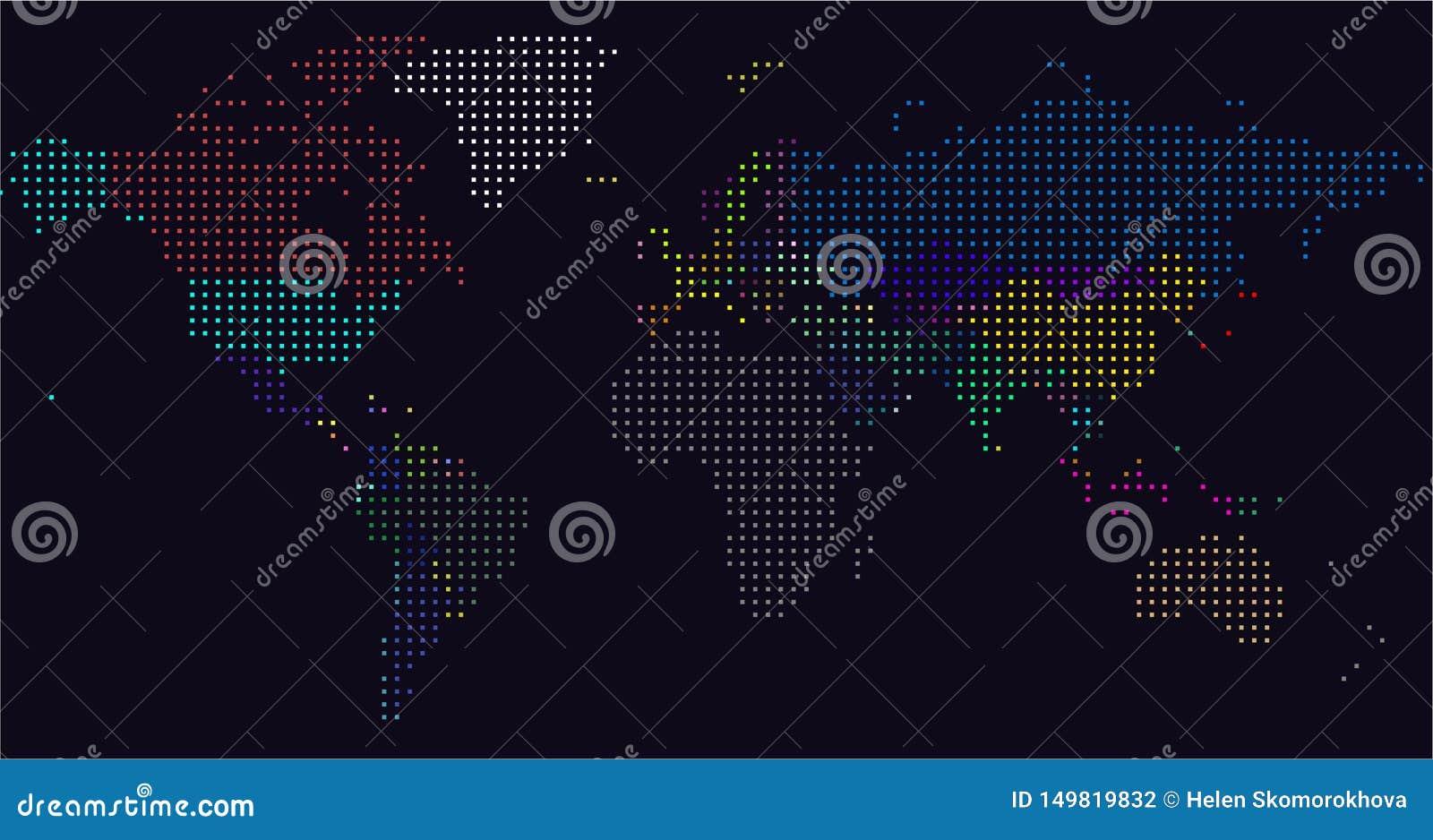 Mapa de mundo pontilhado vetor Um mapa pol?tico do mundo