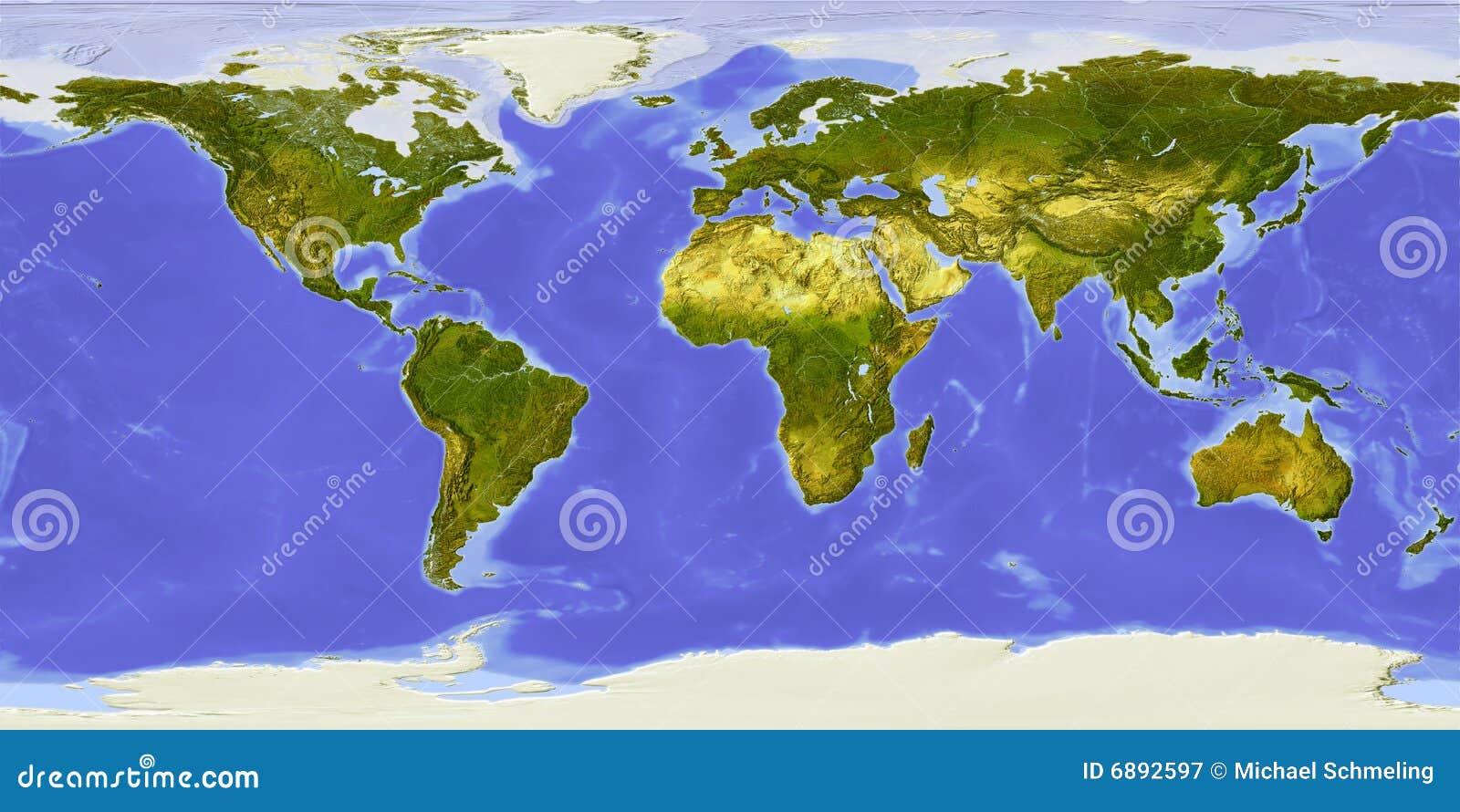 Mapa de mundo, relevo protegido, centrado em África