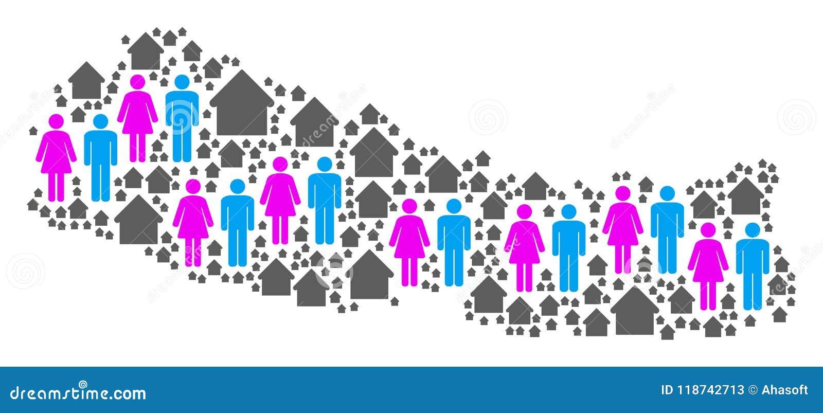 Mapa de Nepal de la población