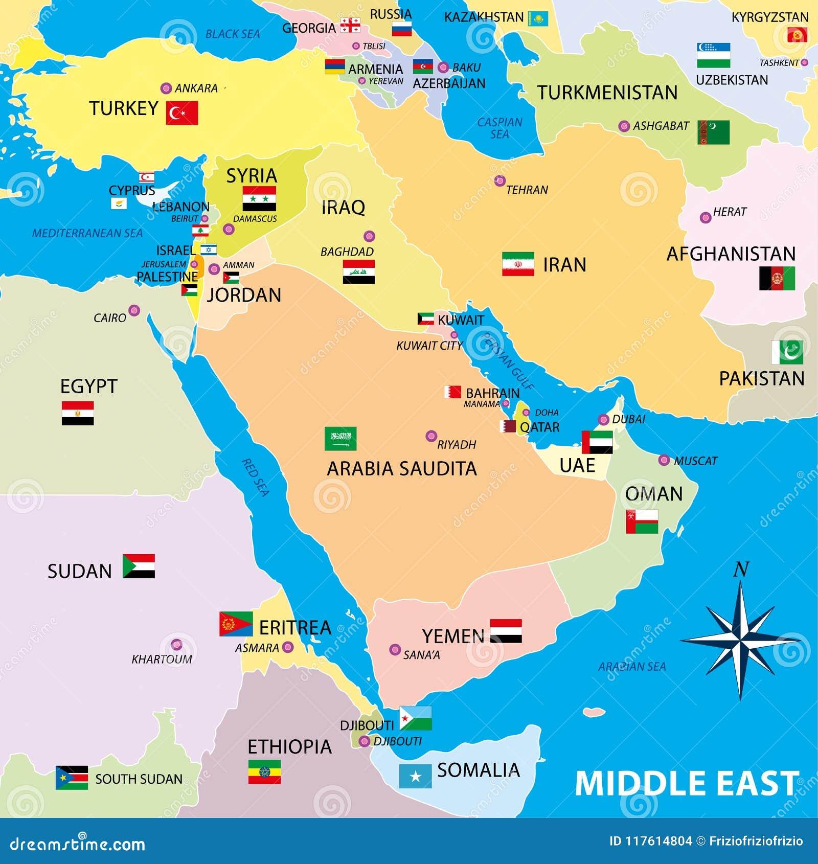 Mapa De Oriente Medio Con Las Fronteras Y Las Banderas Ilustracion