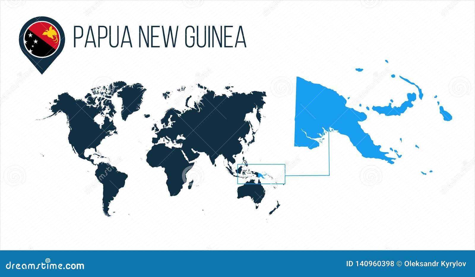 Mapa de Papúa Nueva Guinea situado en un mapa del mundo con la bandera e indicador o perno del mapa Mapa de Infographic Ejemplo d