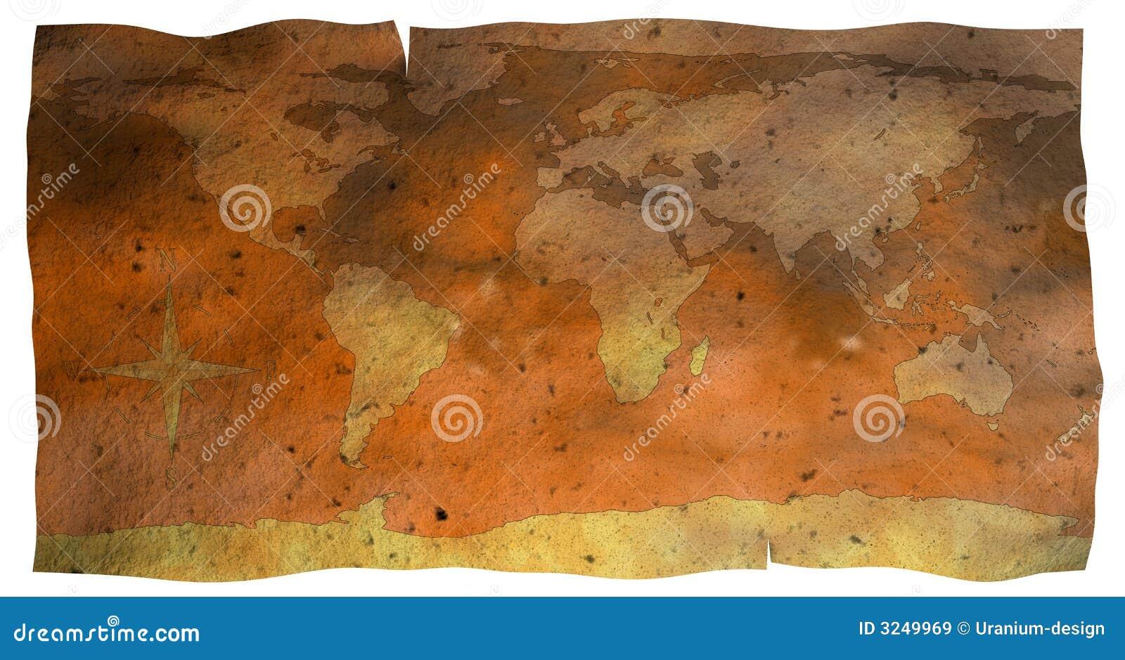 Mapa de papel velho do globo