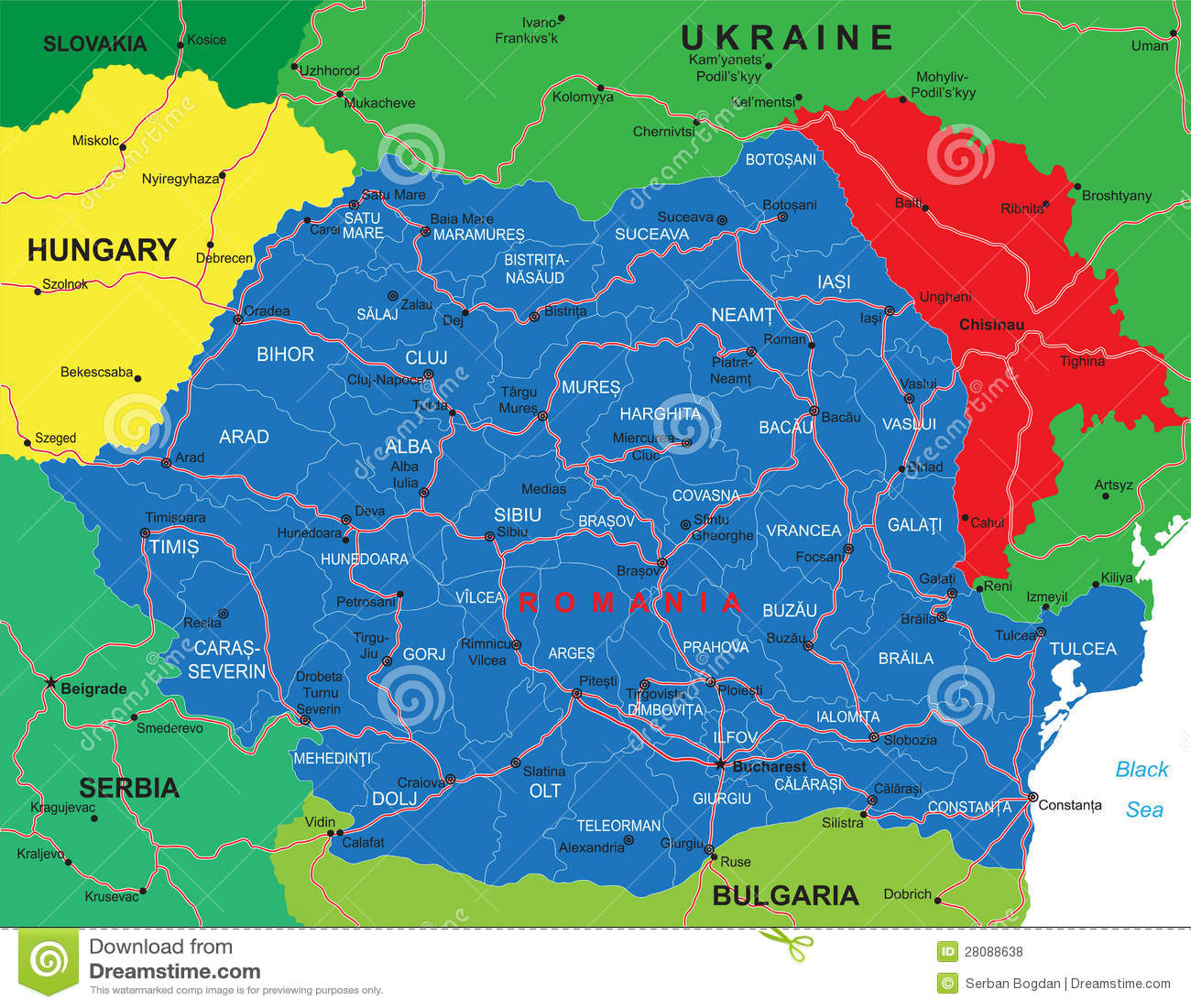 Mapa De Rumania Ilustracion Del Vector Ilustracion De Siluetas