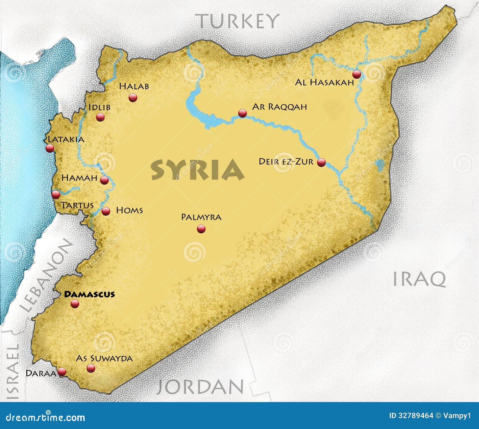 Mapa De Siria Stock De Ilustración Ilustración De Assad 32789464