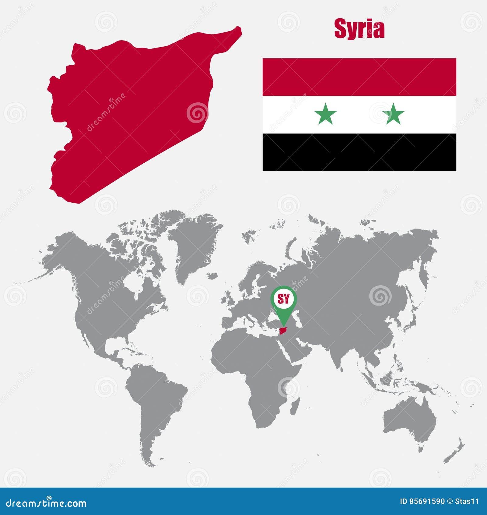 Mapa De Siria En Un Mapa Del Mundo Con El Indicador De La Bandera Y