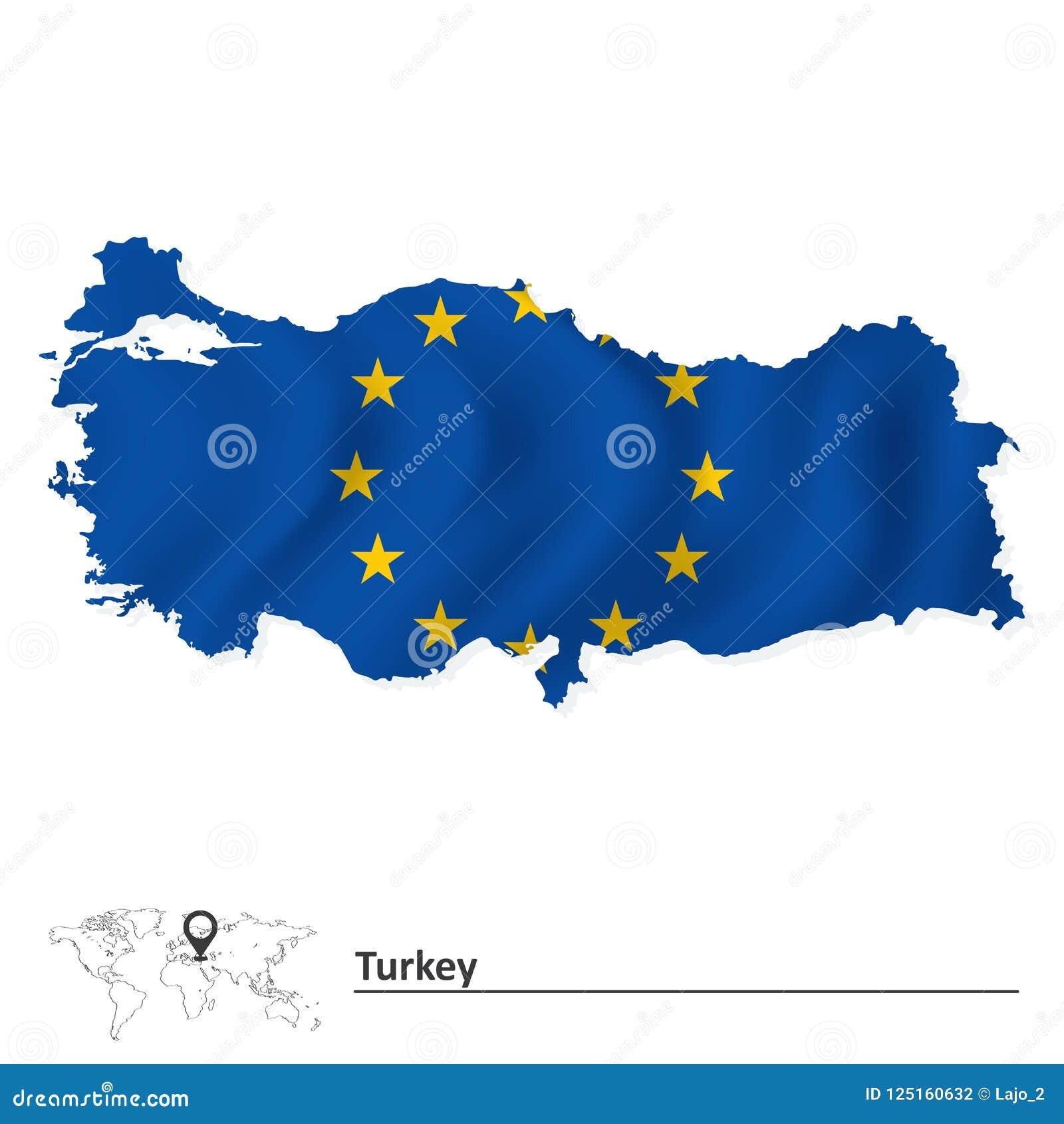 Mapa de Turquía con la bandera de unión europea