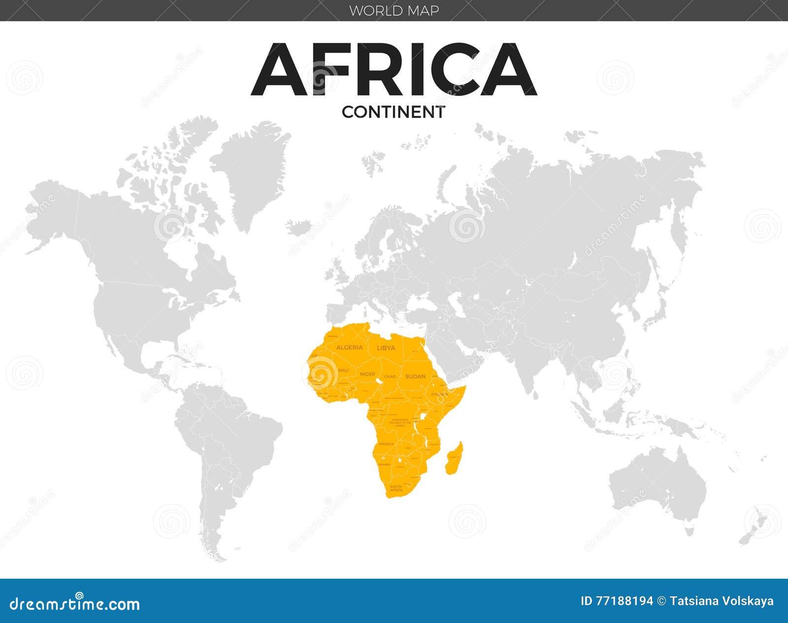 Mapa De Ubicación Continente De áfrica Ilustración Del Vector Ilustración De Detalle Icono 77188194