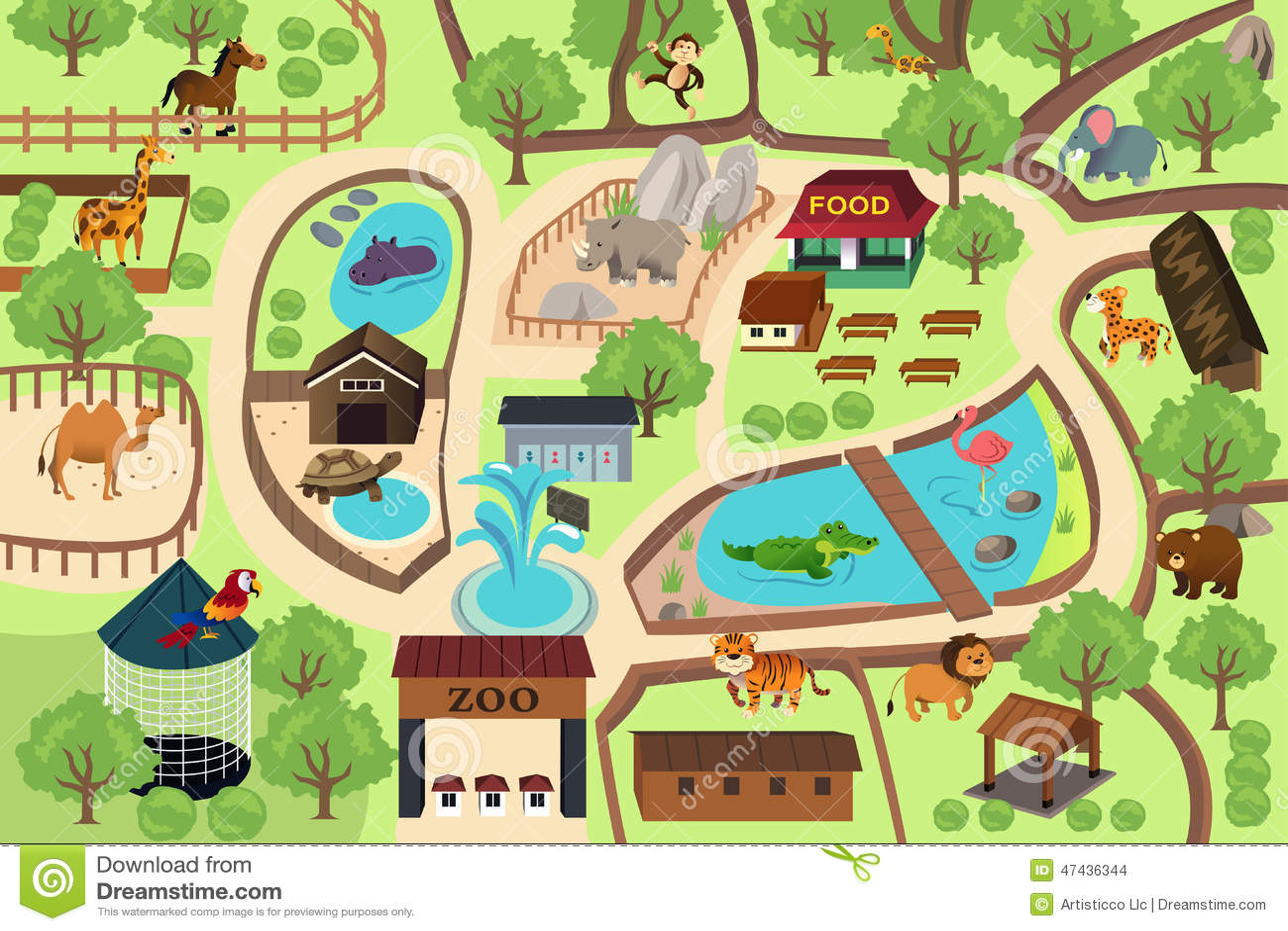 Mapa De Un Parque Del Parque Zool 243 Gico Ilustraci 243 N Del