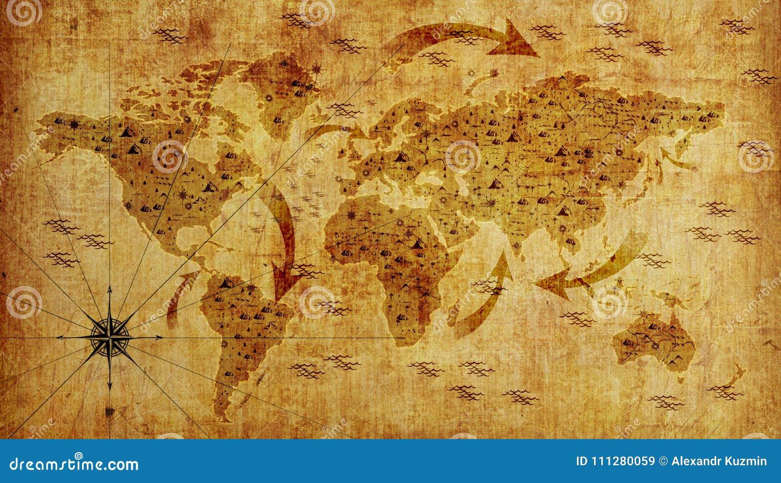 Mapa de Velho Mundo, com setas e relevo Papel de parede da foto ilustração 3D
