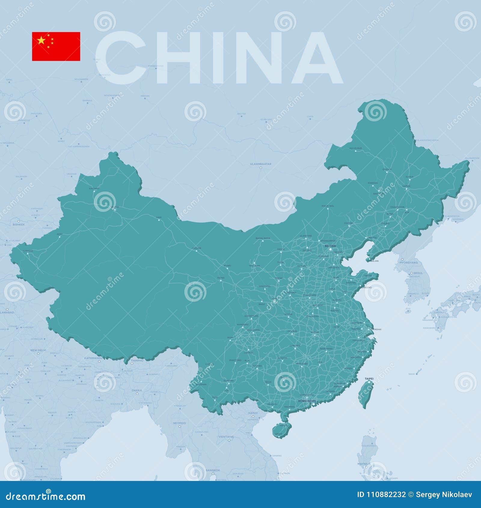 Ciudades De China Mapa.Mapa De Verctor De Ciudades Y De Caminos En China