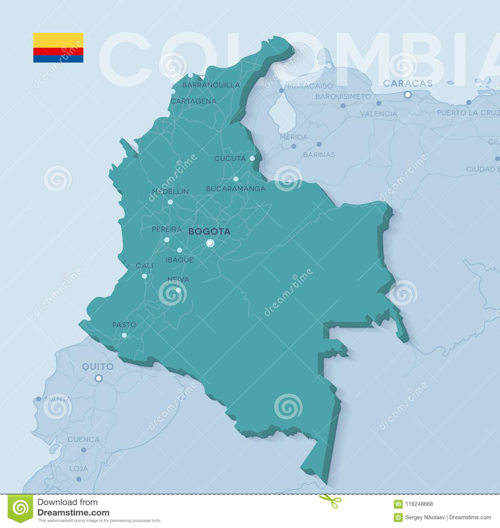 Mapa De Colombia Ciudades.Mapa De Verctor De Ciudades Y De Caminos En Colombia