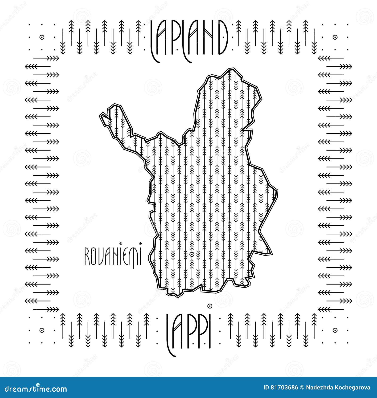 Mapa decorativo de Laponia